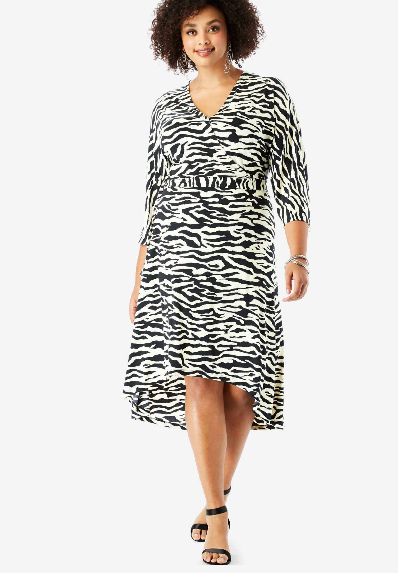 3d86f25711a1 Dolman-Sleeve Wrap Dress with High-Low Hem| Plus Size Casual Dresses ...