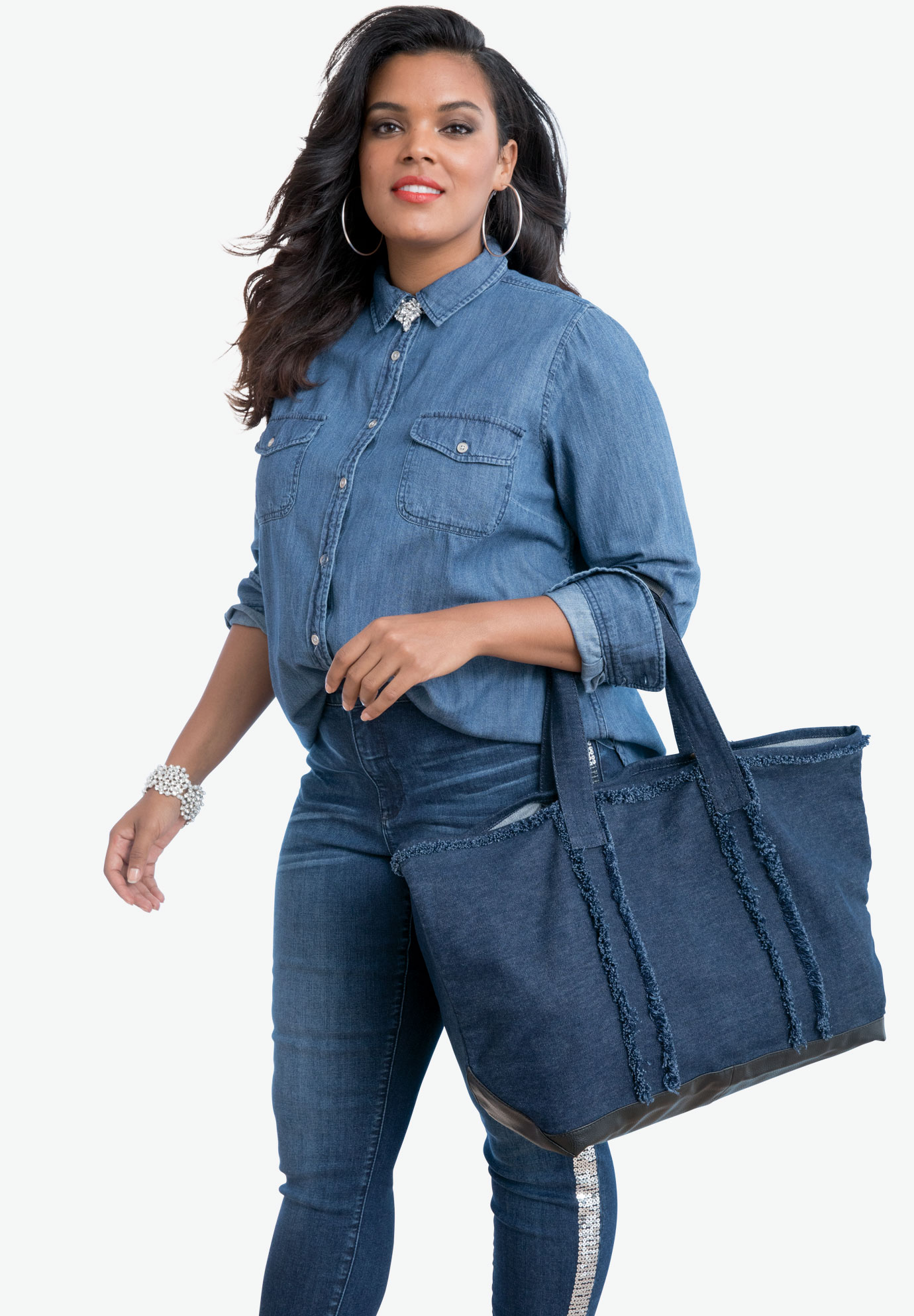 Two-Piece Denim Tote Set, MEDIUM STONEWASH