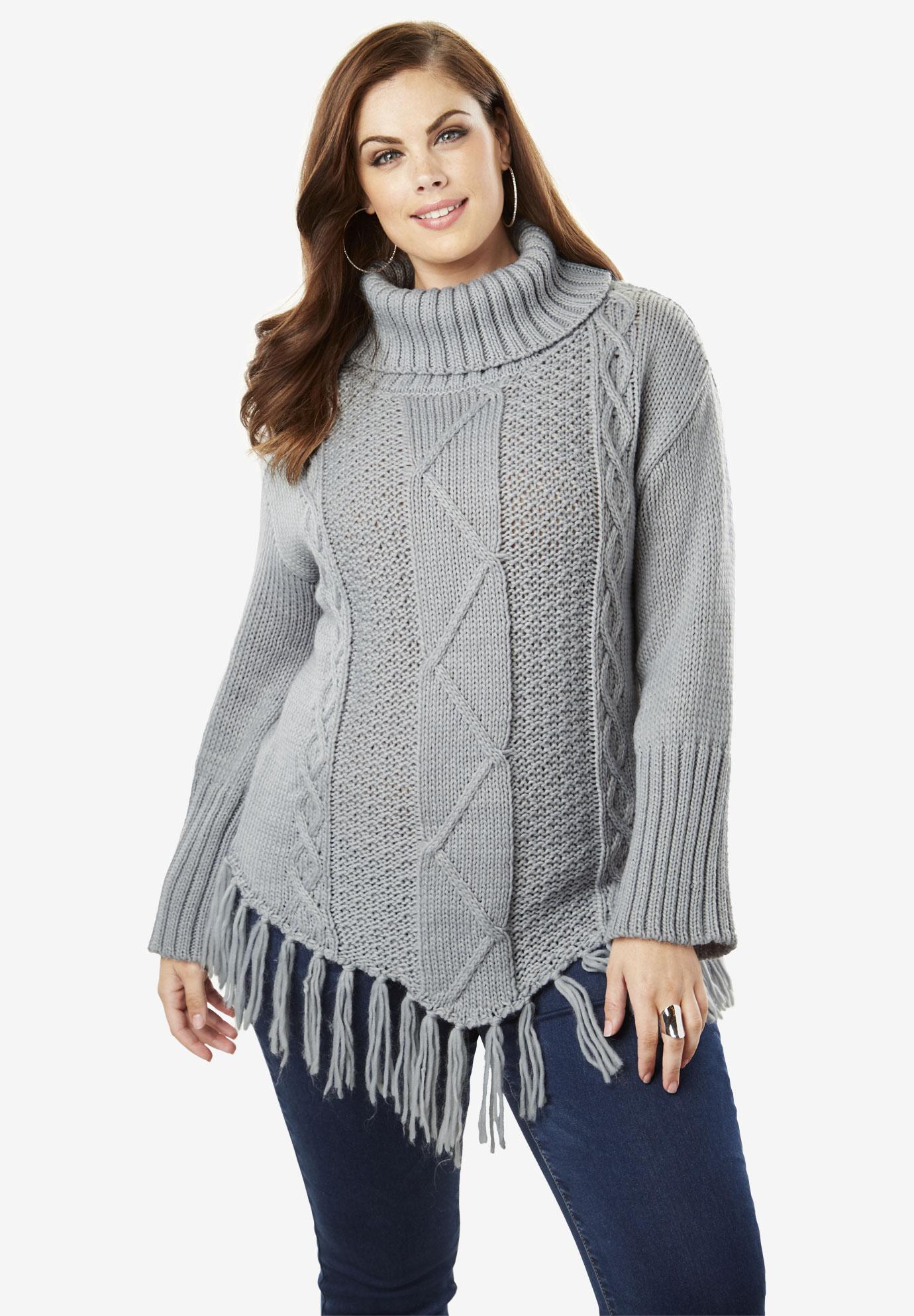 2e8f35f1e5f0a Cowlneck Cableknit Sweater with Fringe Hem