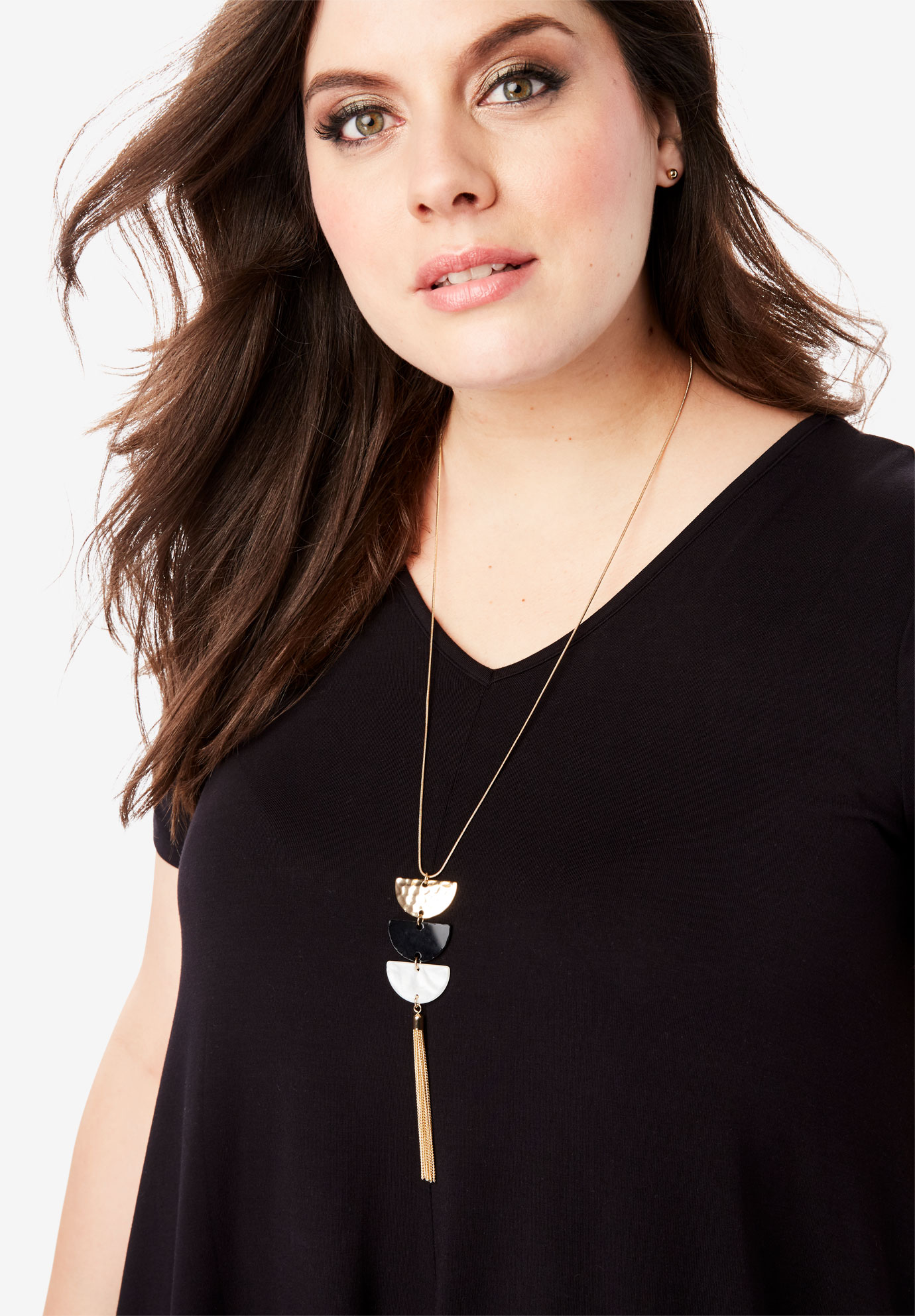 Colorblock Fringe Necklace,