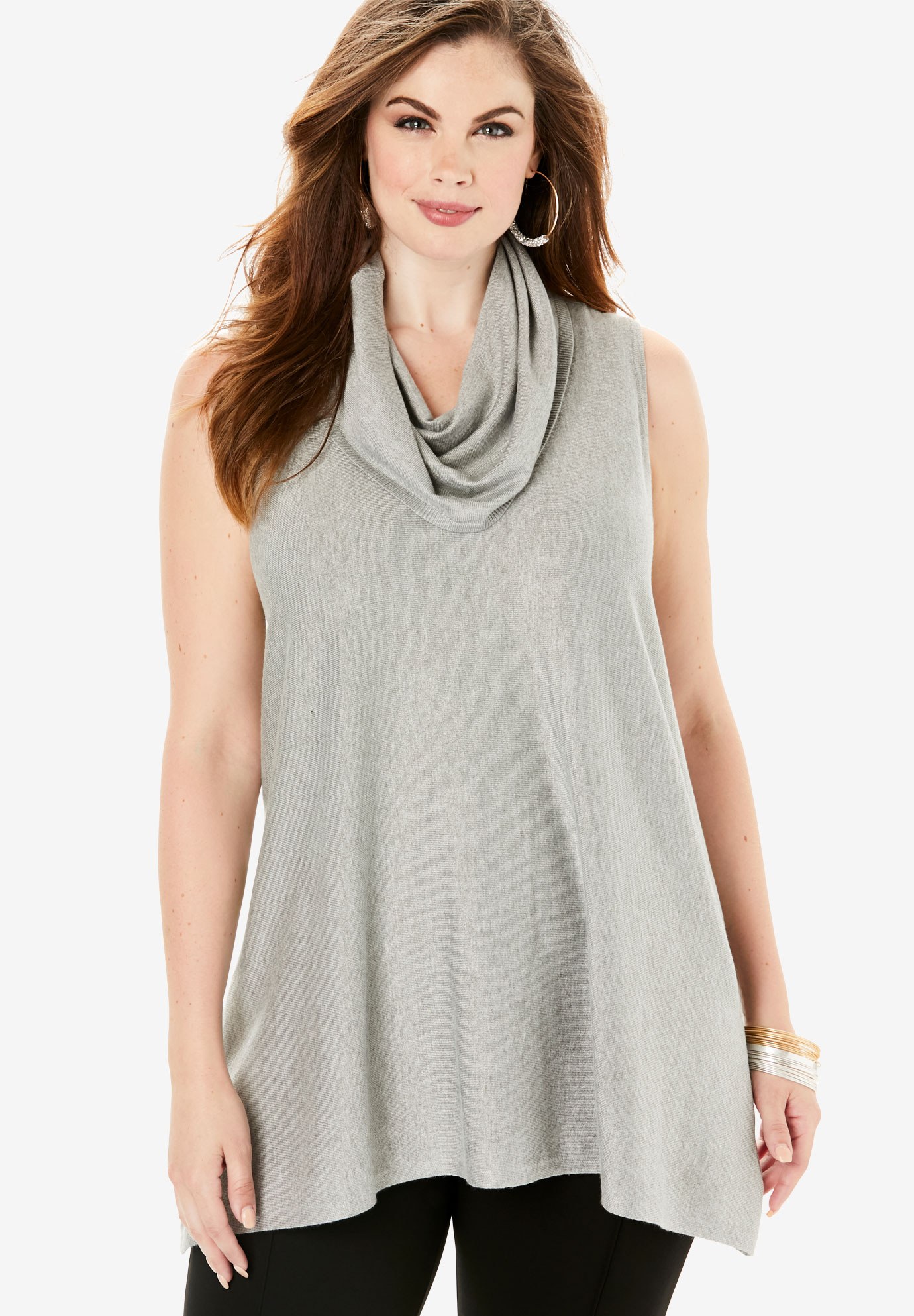 Fine Gauge Sleeveless Sweater with Cowl Neck,