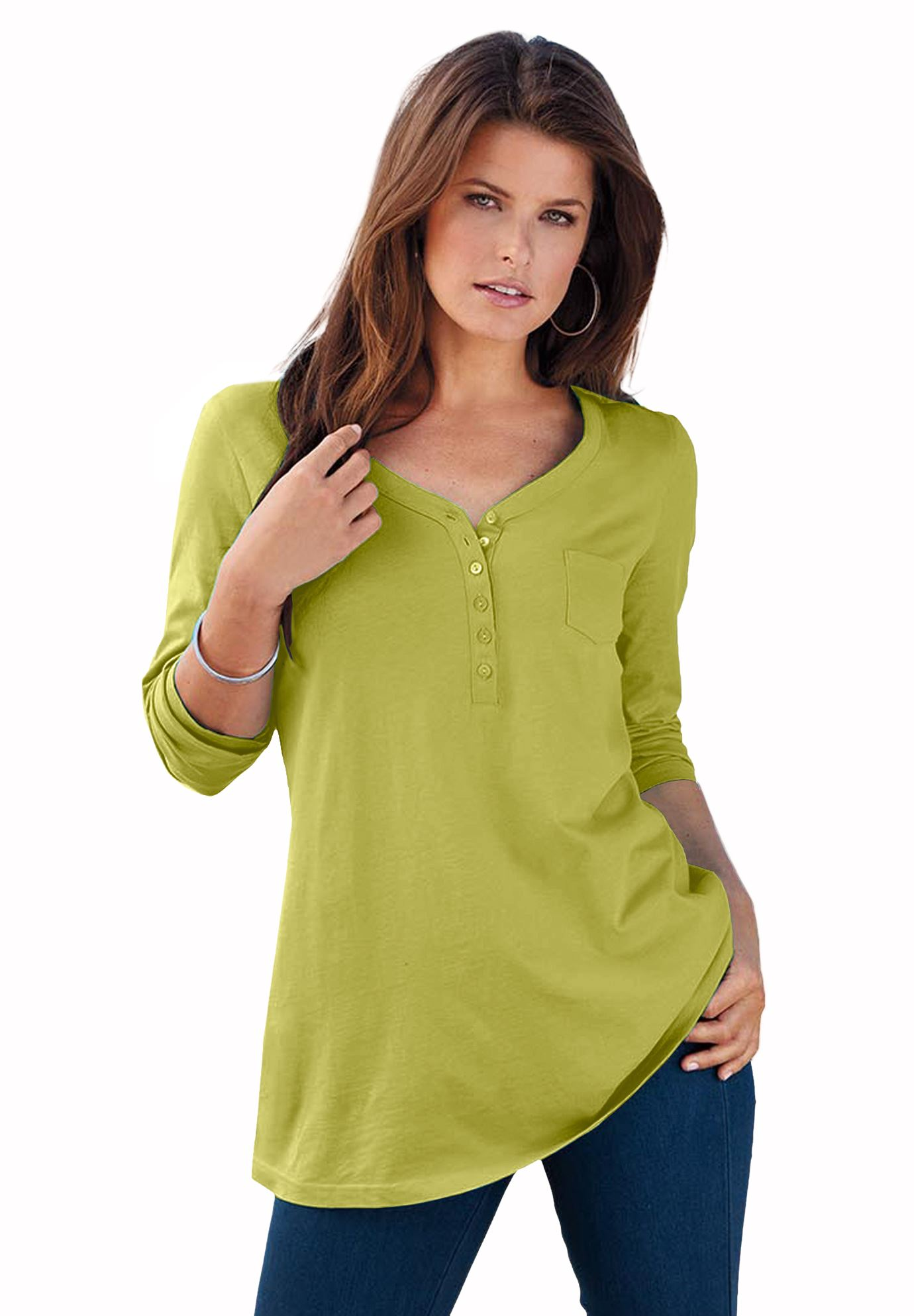 f52cfc8562a0d Long-Sleeve Henley Ultimate Tee with Sweetheart Neck