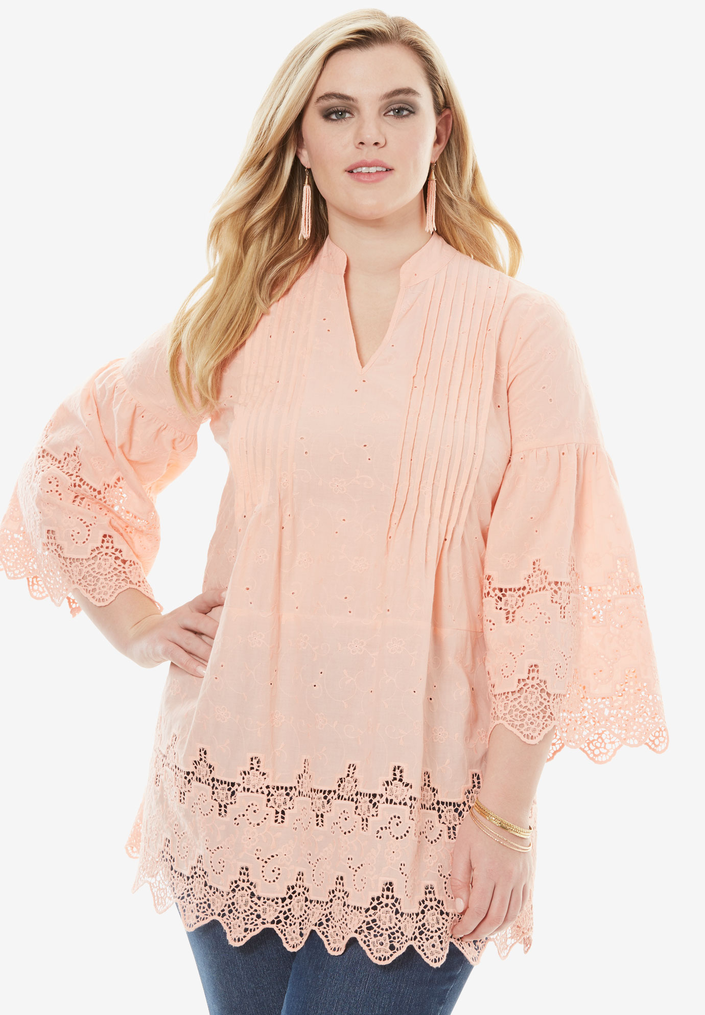 Pleated Eyelet Tunic,