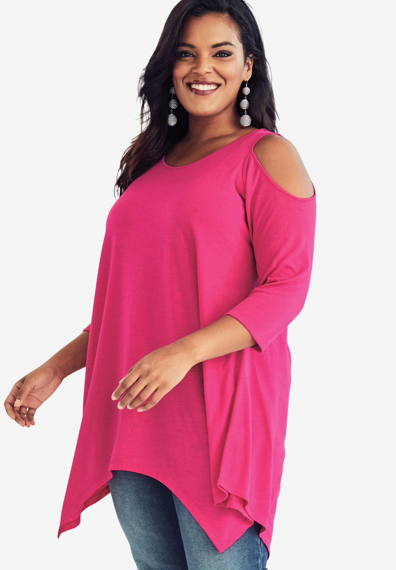 Cold Shoulder Linen Blend Tunic,