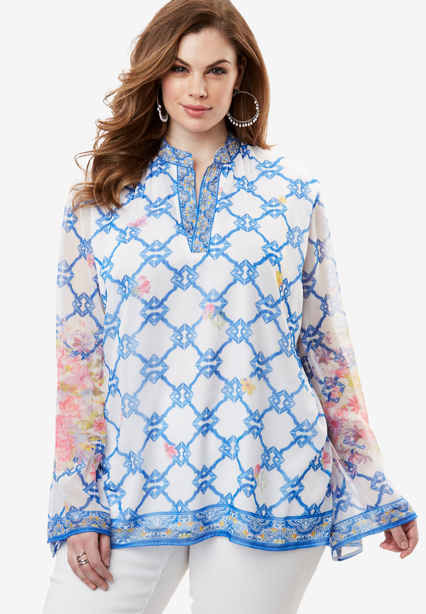 Beaded Scarf-Print Tunic,