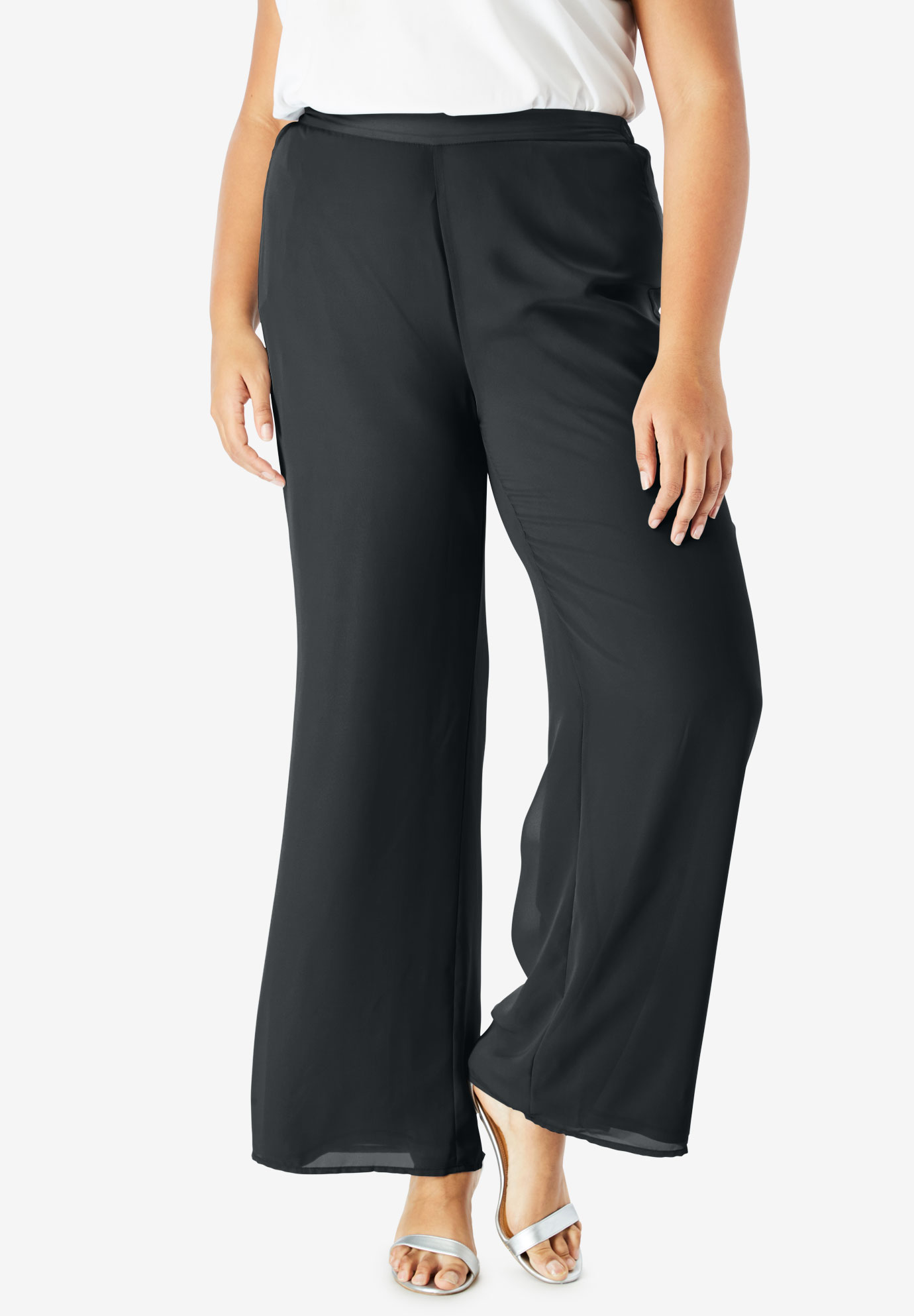 Georgette Wide-Leg Dress Pant  Plus Size Dresses   Full Beauty