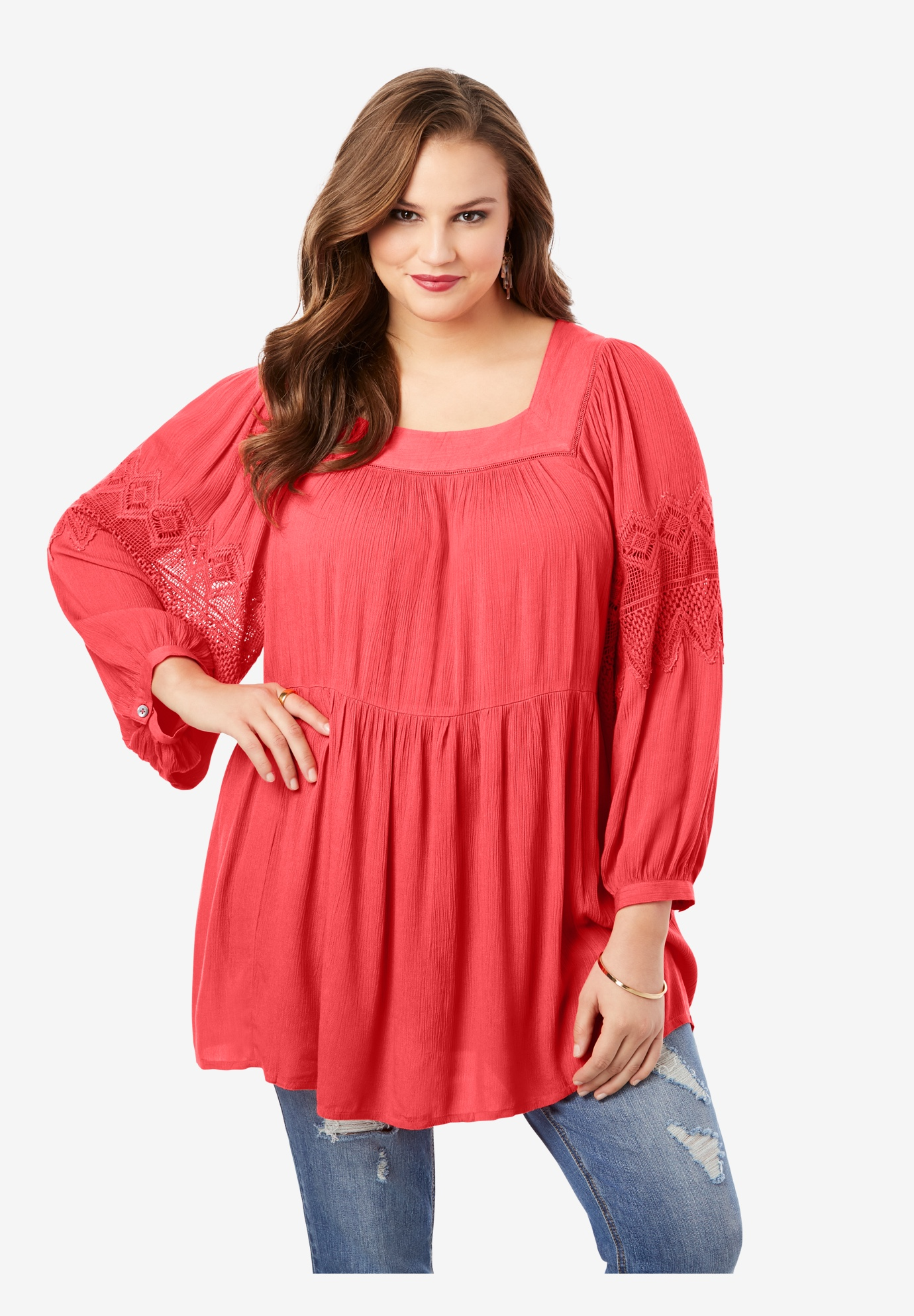 Square-Neck Crinkle Big Shirt,