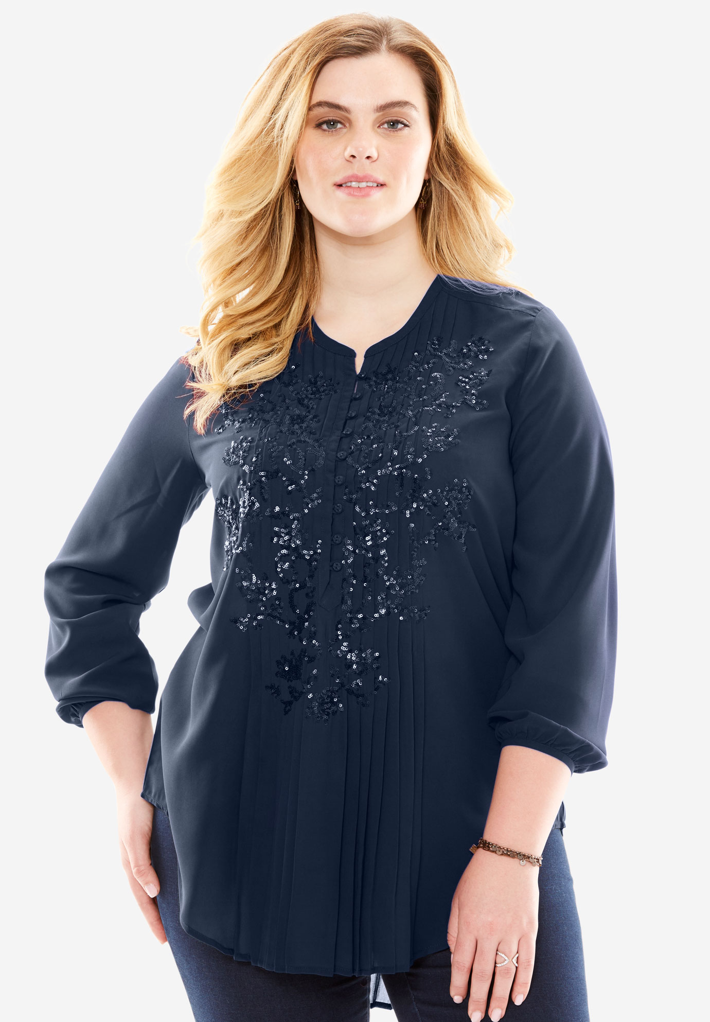 Sequin Floral Tunic, NAVY
