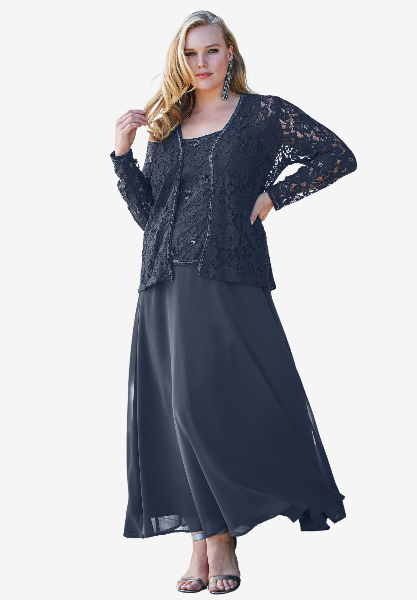 Beaded Lace Jacket Dress Plus Size Special Occasion Full Beauty