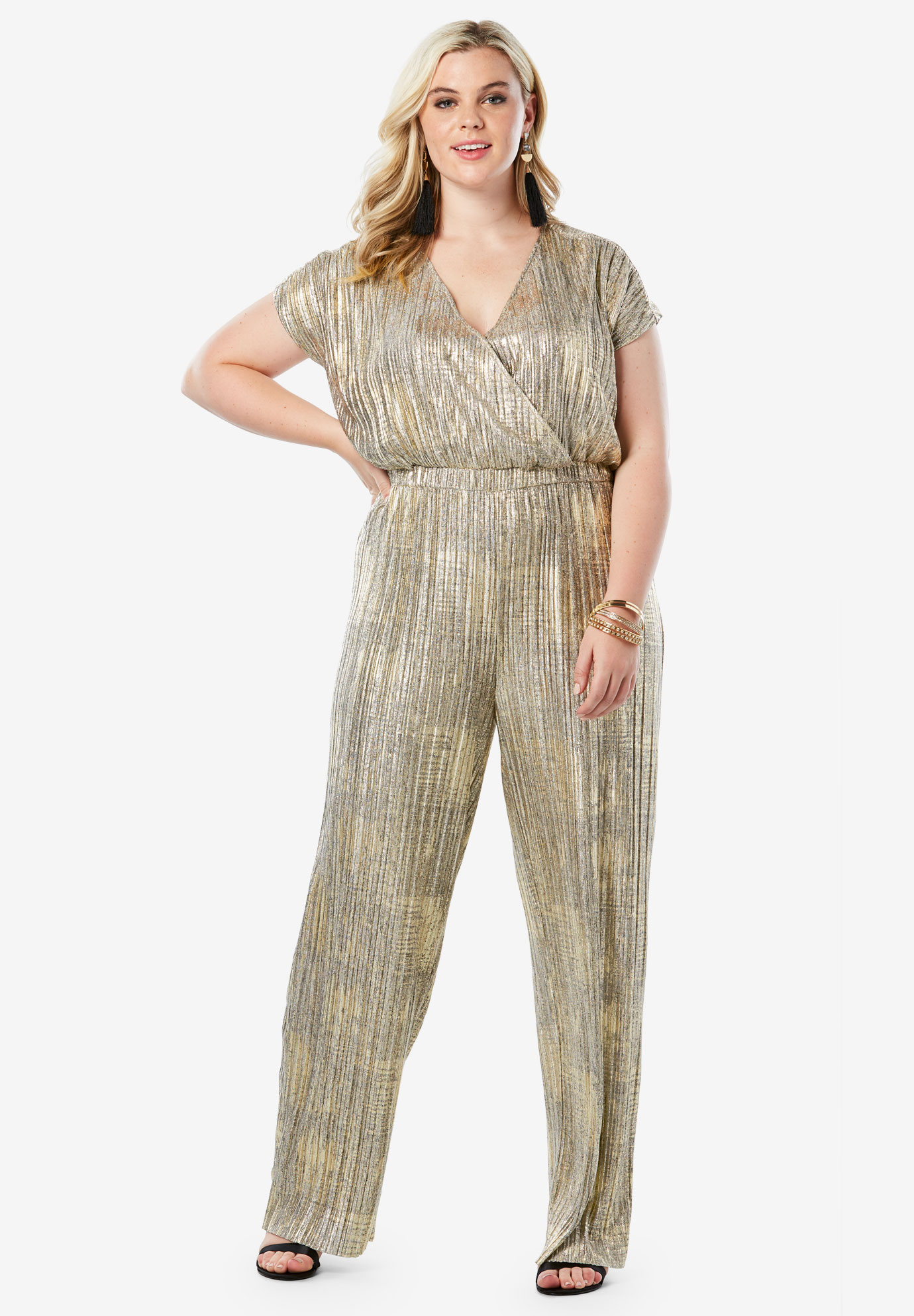 Wide-Leg Metallic Jumpsuit with Pleating,
