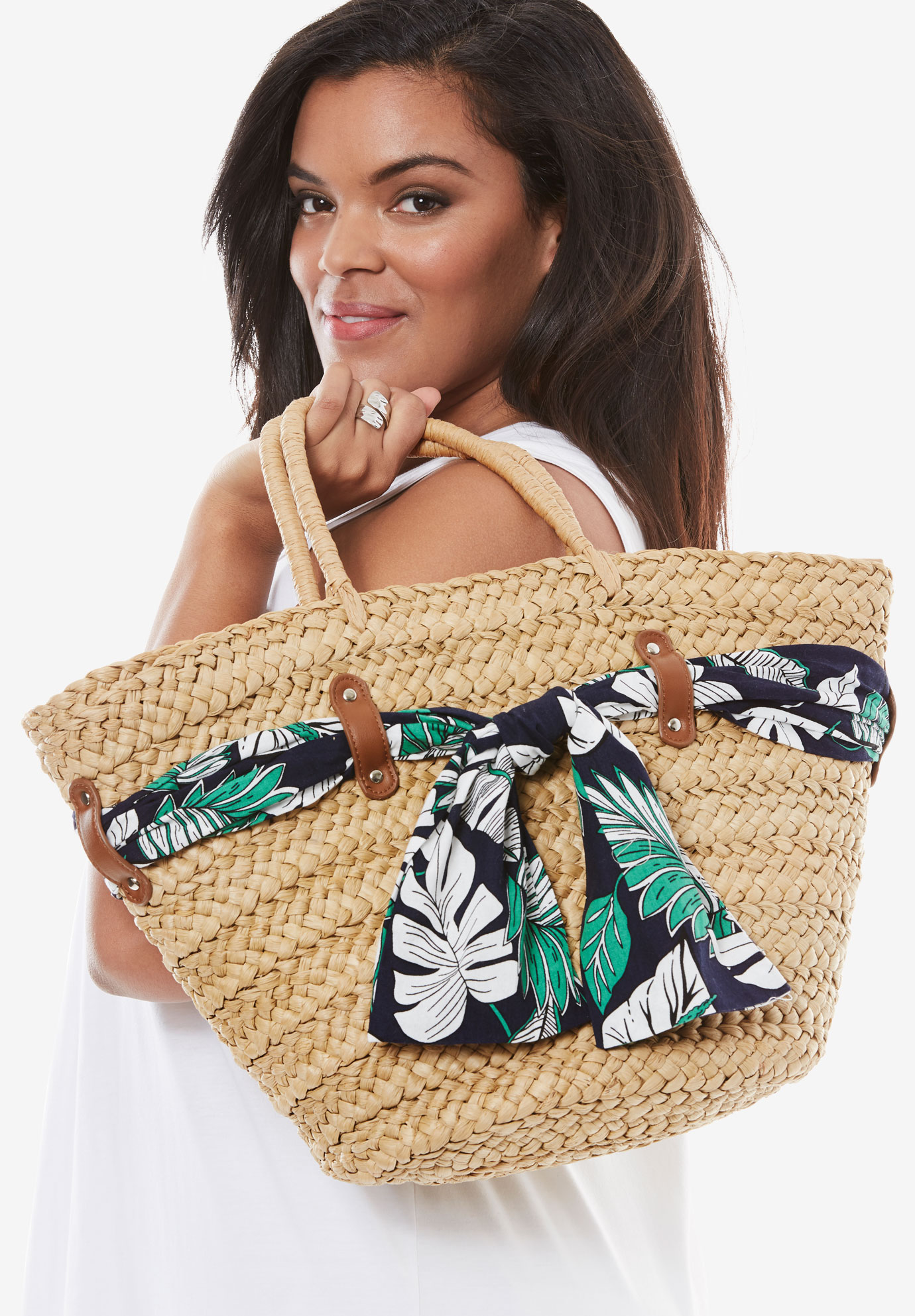 Straw Tote With Scarves, TAN