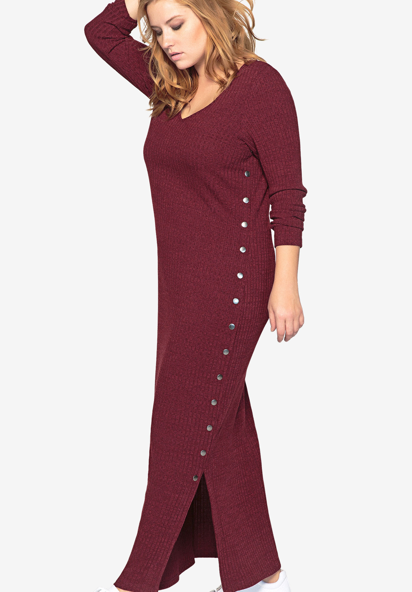 3651bb571d87 Long Sleeve Knit Maxi Dress by Castaluna| Plus Size Casual Dresses ...