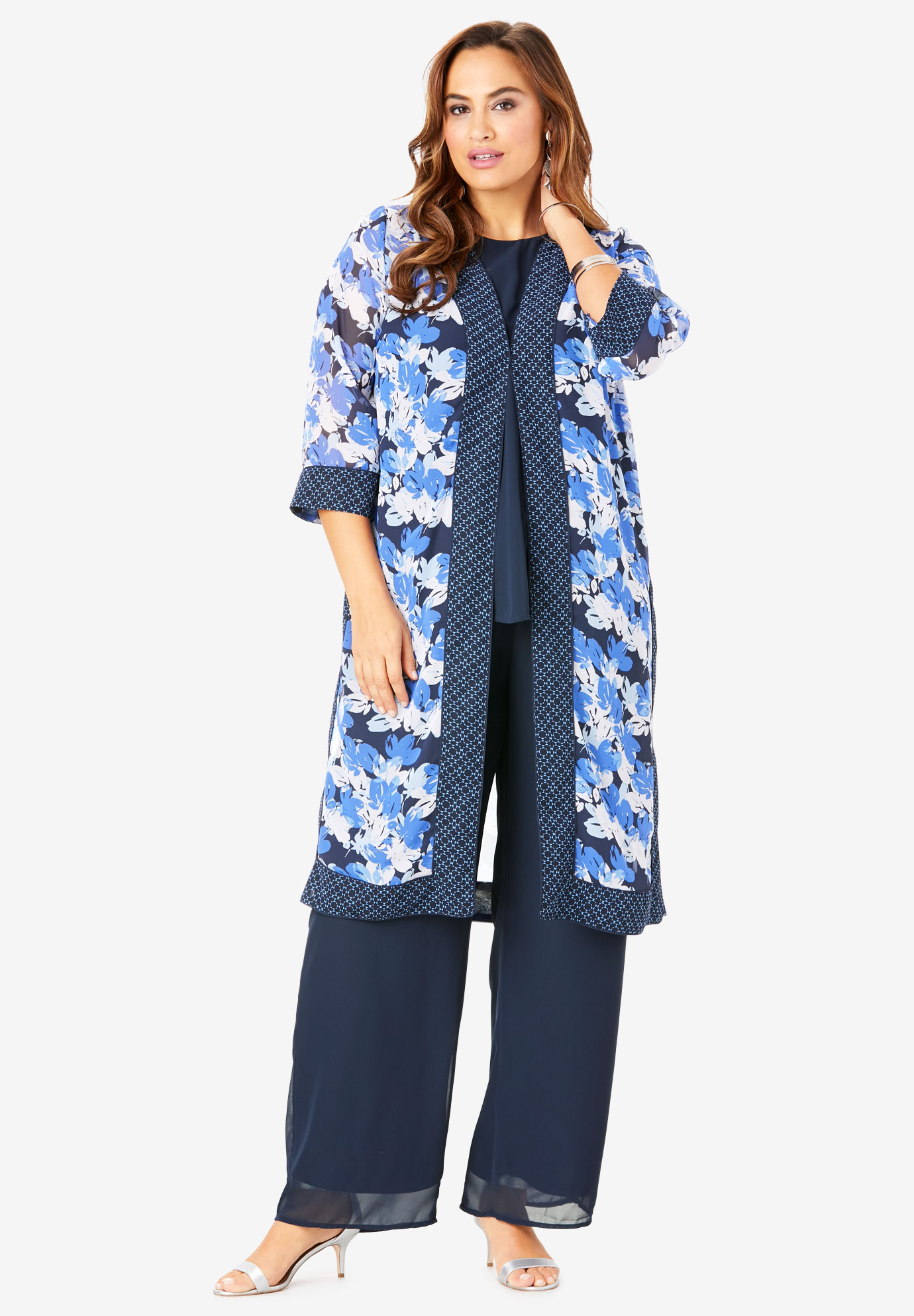 Three-Piece Duster & Pant Set,