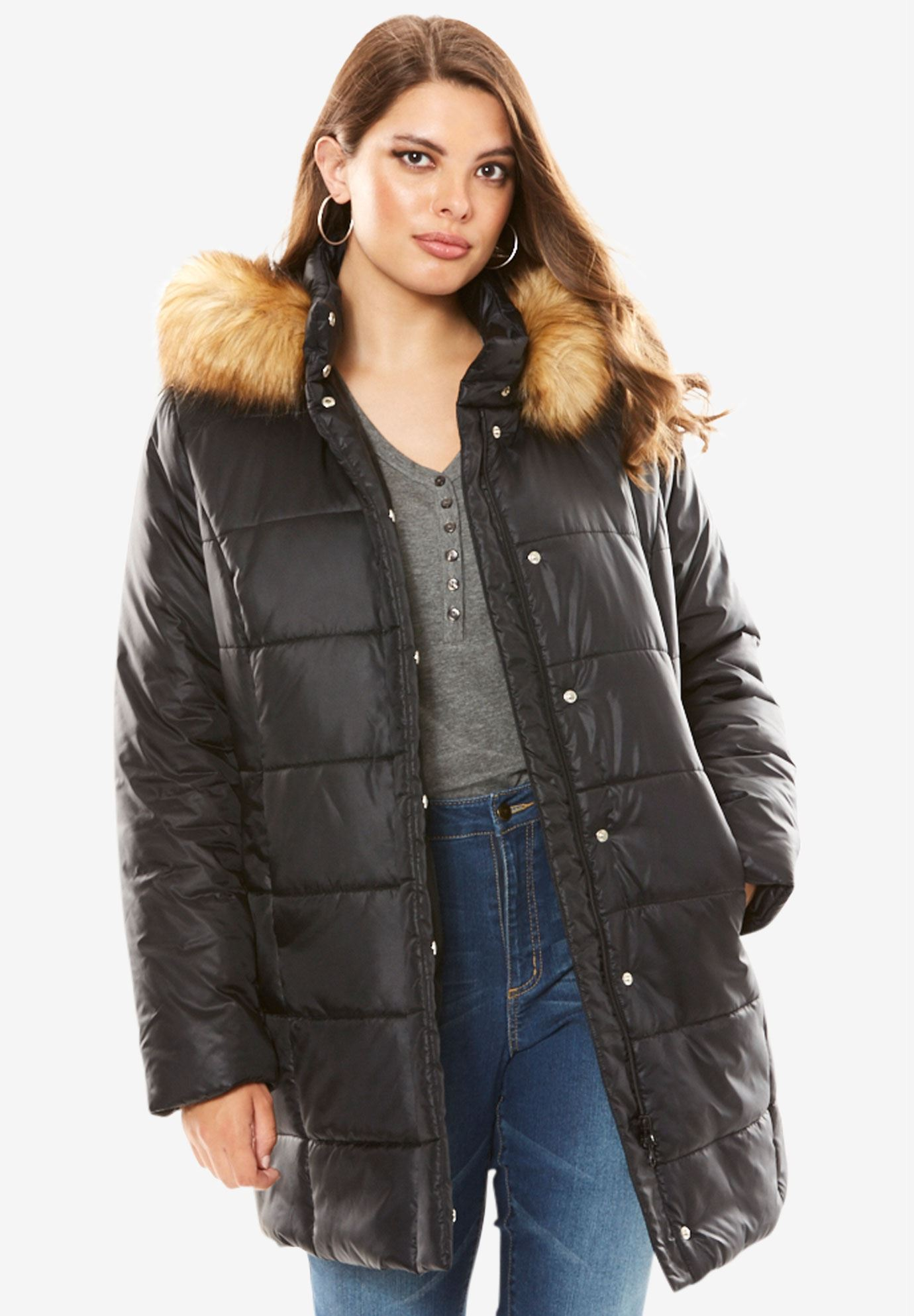 Classic-Length Quilted Parka with Faux-Fur Hood,
