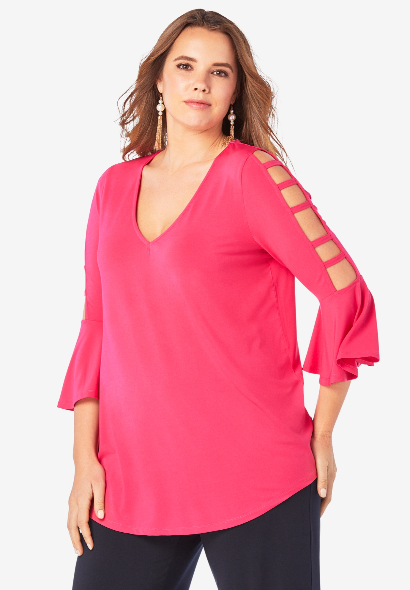 Ultrasmooth® Lattice-Sleeve Top,