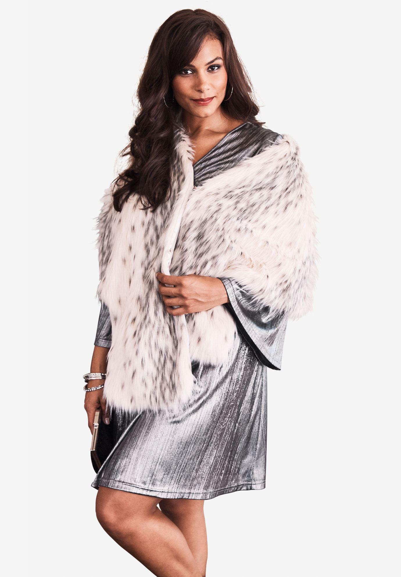 ba2072f4833c Faux-Fur Leopard Shrug by Donna Salyers Fabulous Furs| Plus Size ...