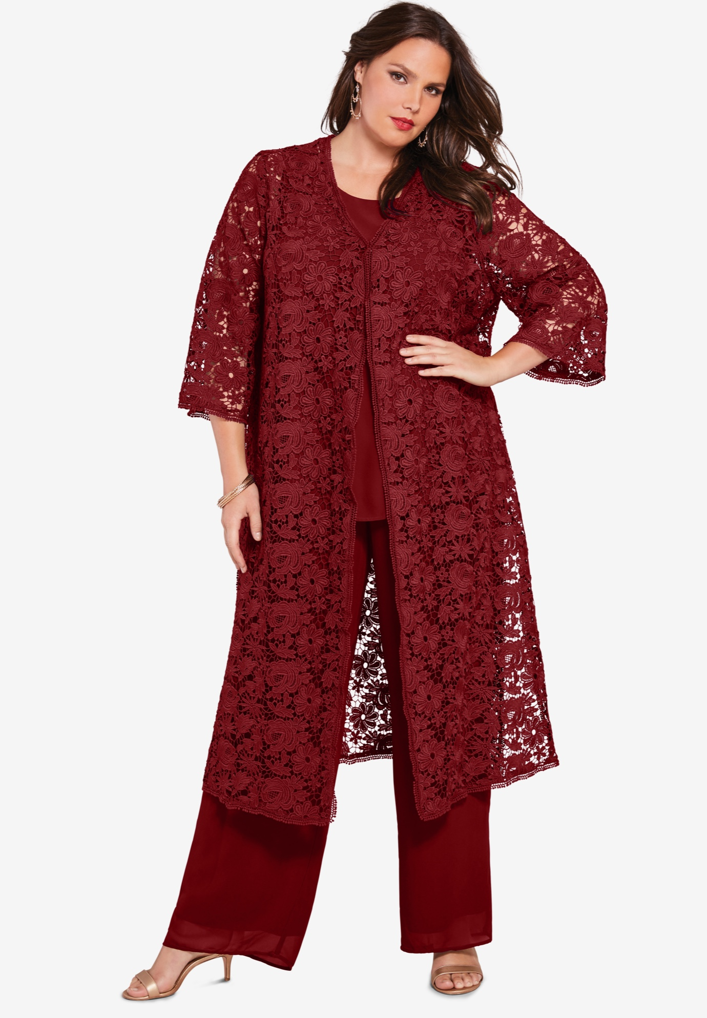 Three-Piece Lace Duster & Pant Set,