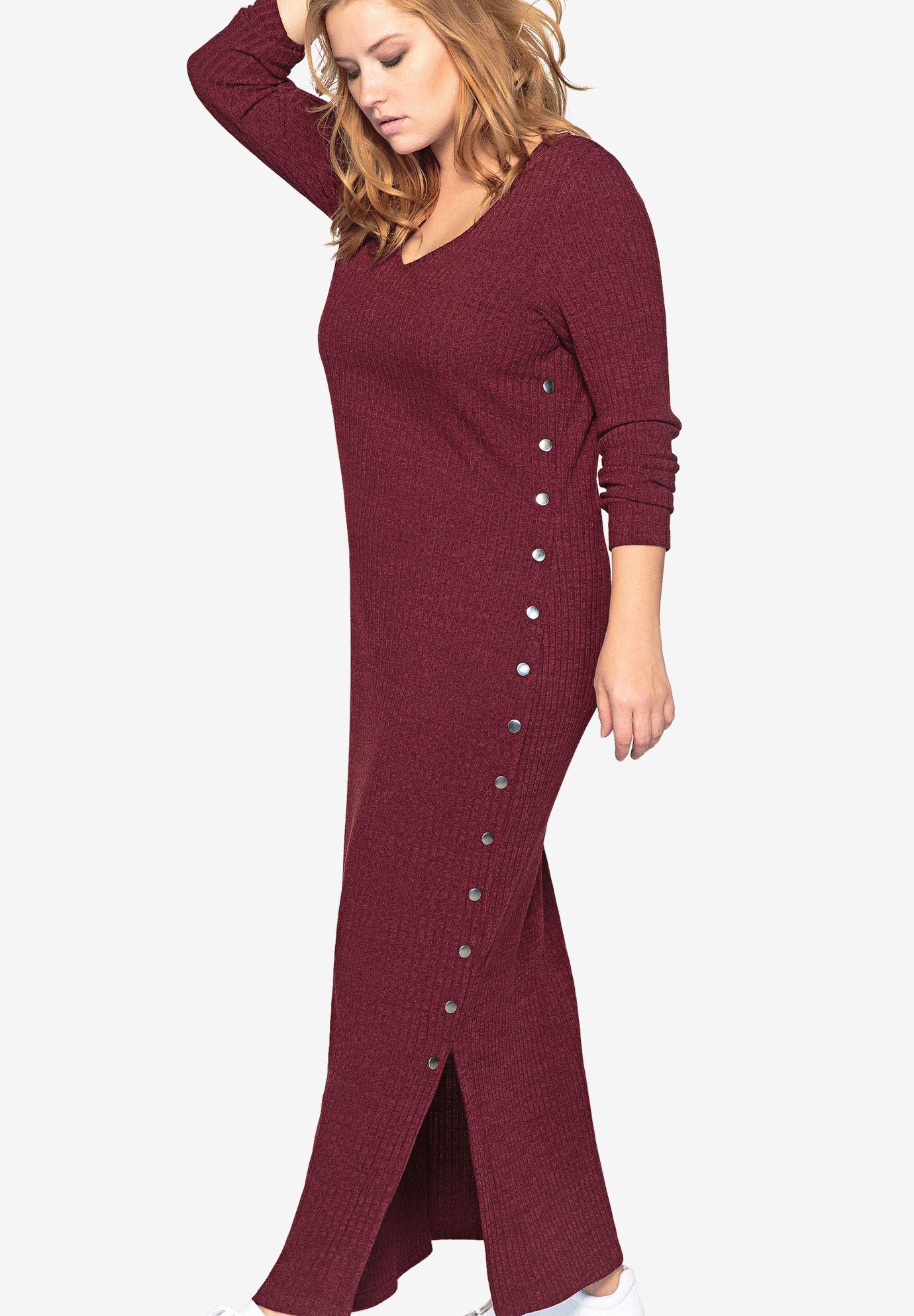 Long Sleeve Knit Maxi Dress By Castaluna