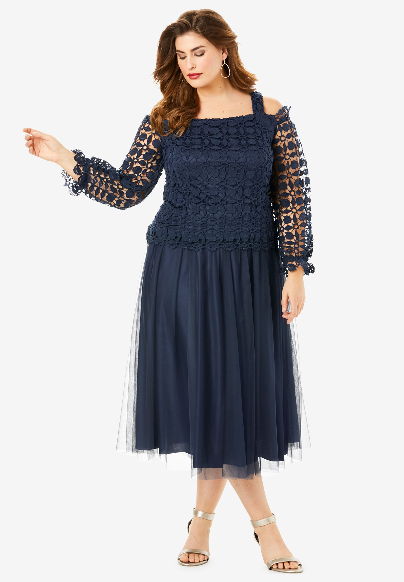 Lace Overlay Dress with Cold-Shoulder Detail,