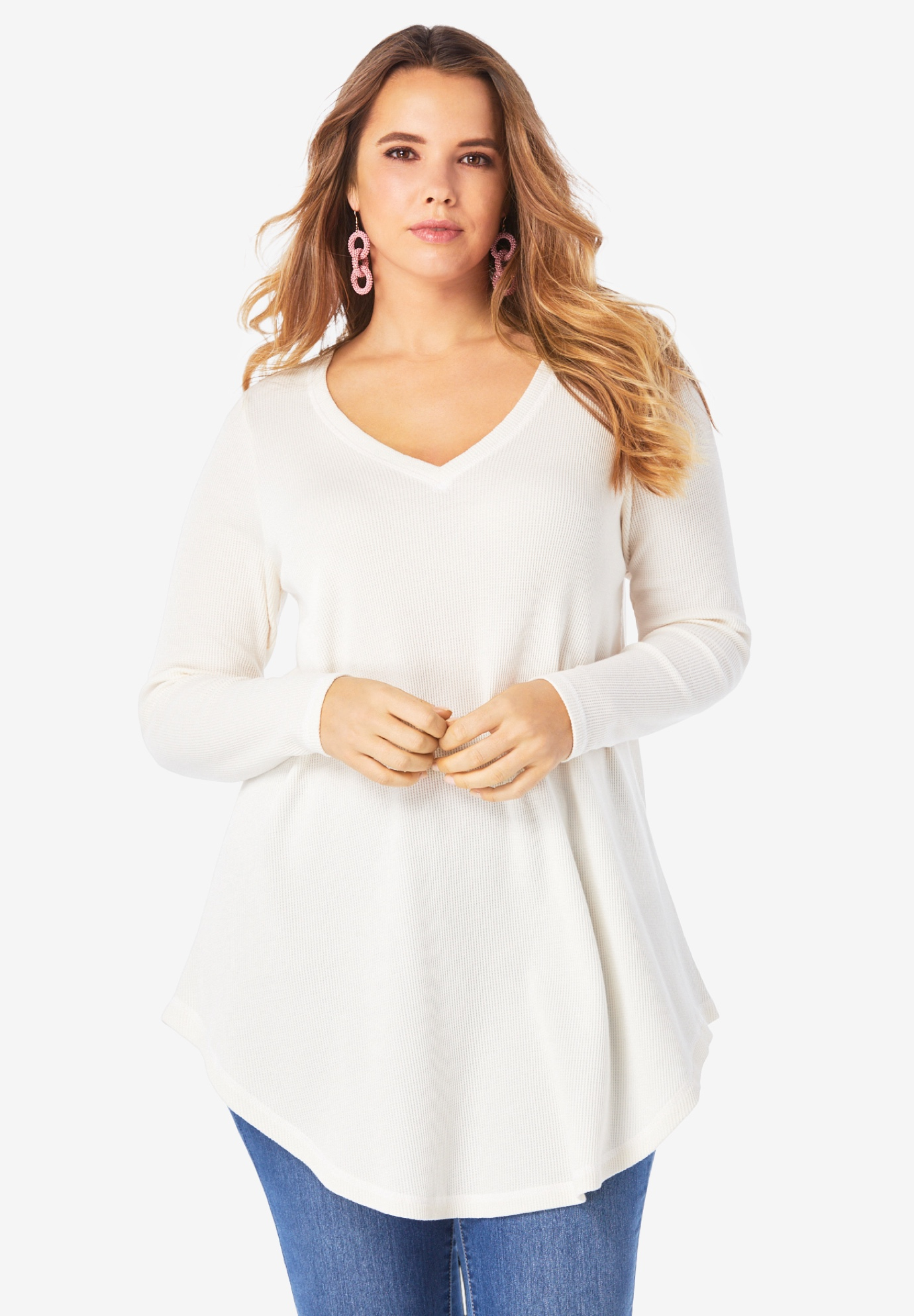 V-Neck Thermal Maxi Tunic,