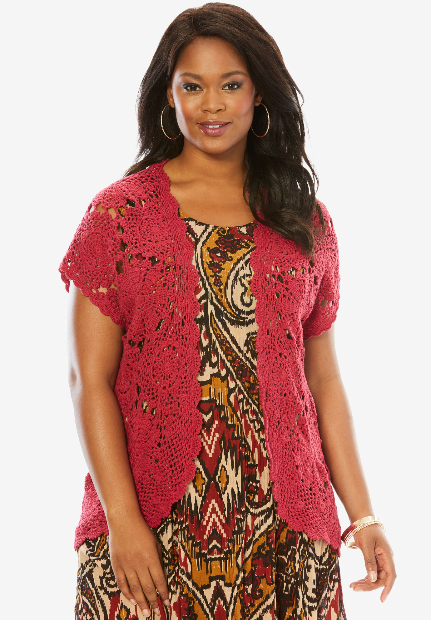 Medallion Crochet Cardigan Plus Size Sweaters Cardigans Full Beauty