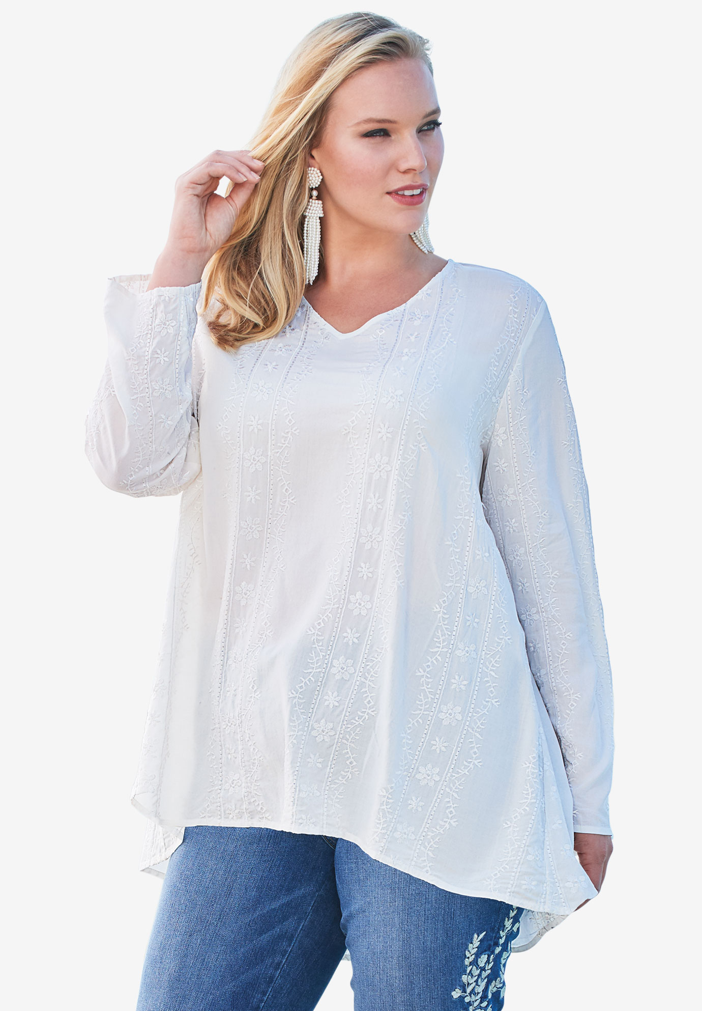 Embroidered V-Neck Trapeze Tunic,