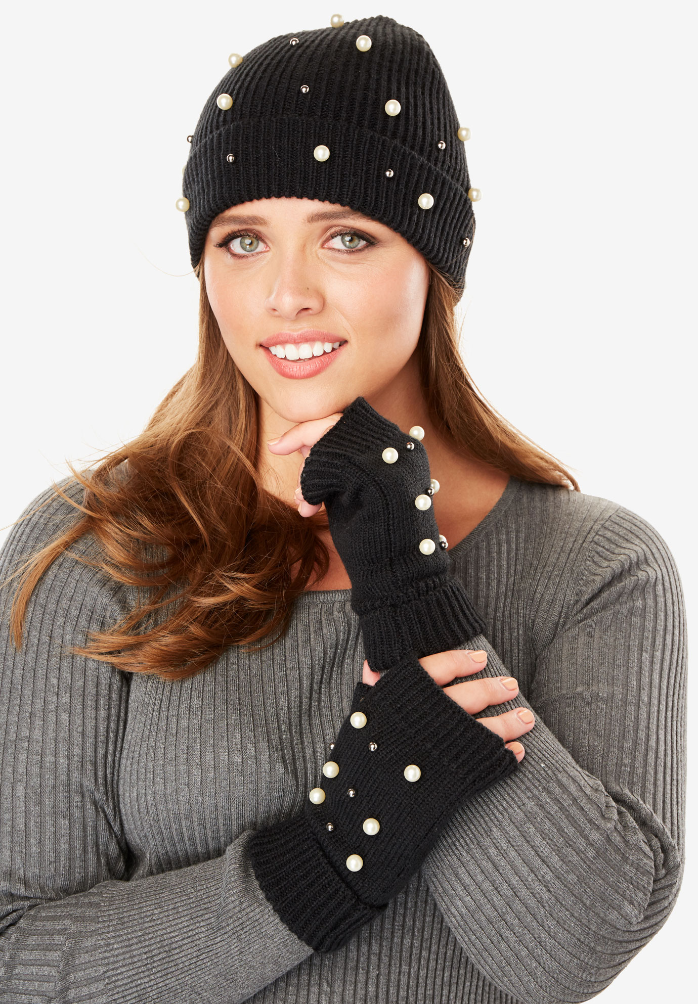 Beanie and Fingerless Gloves Set with Pearl Embellishments, BLACK