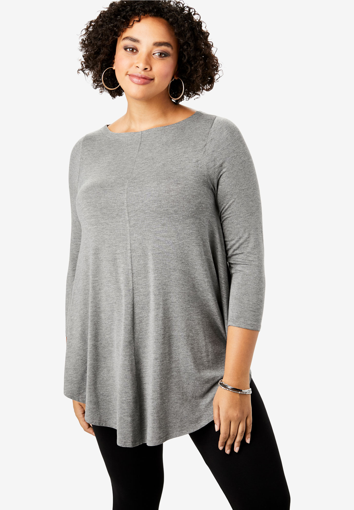 Boatneck Swing Drape Tunic with Bracelet Sleeves,