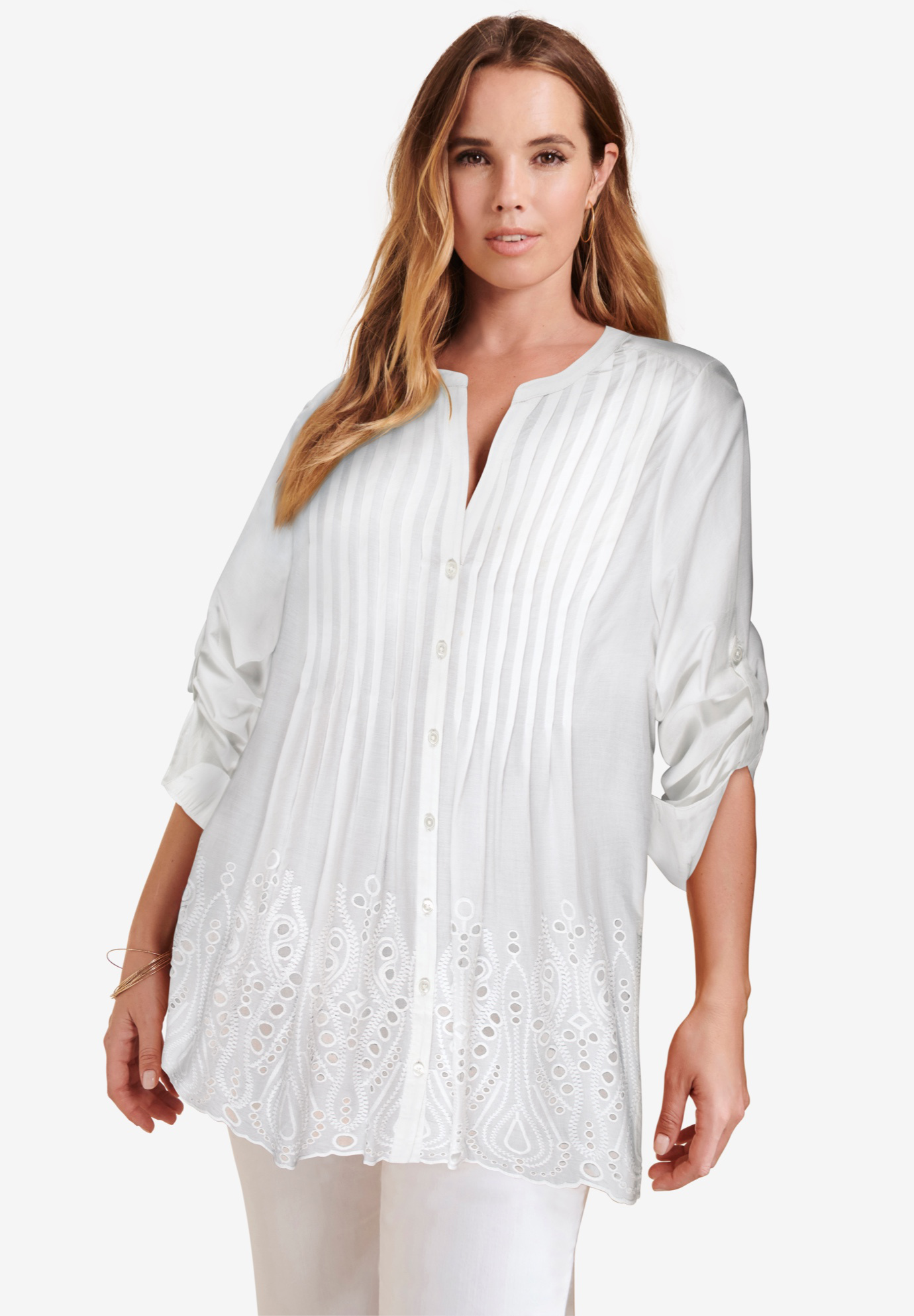 Eyelet Pintuck Tunic with Roll-Tab Sleeves,