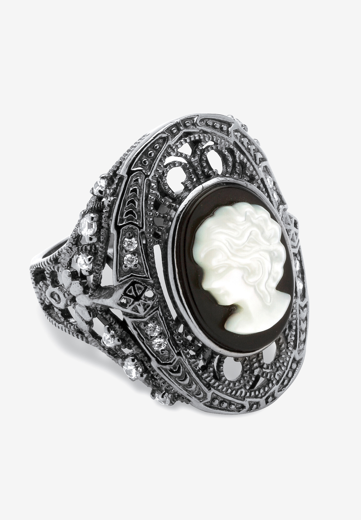 Sterling Silver Onyx & Cubic Zirconia Ring,