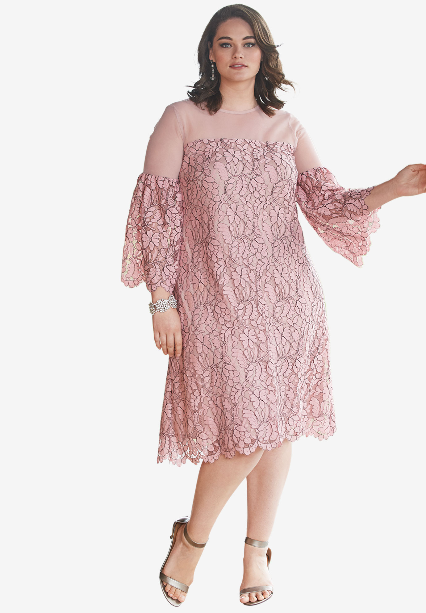 Illusion Bell-Sleeve Dress,
