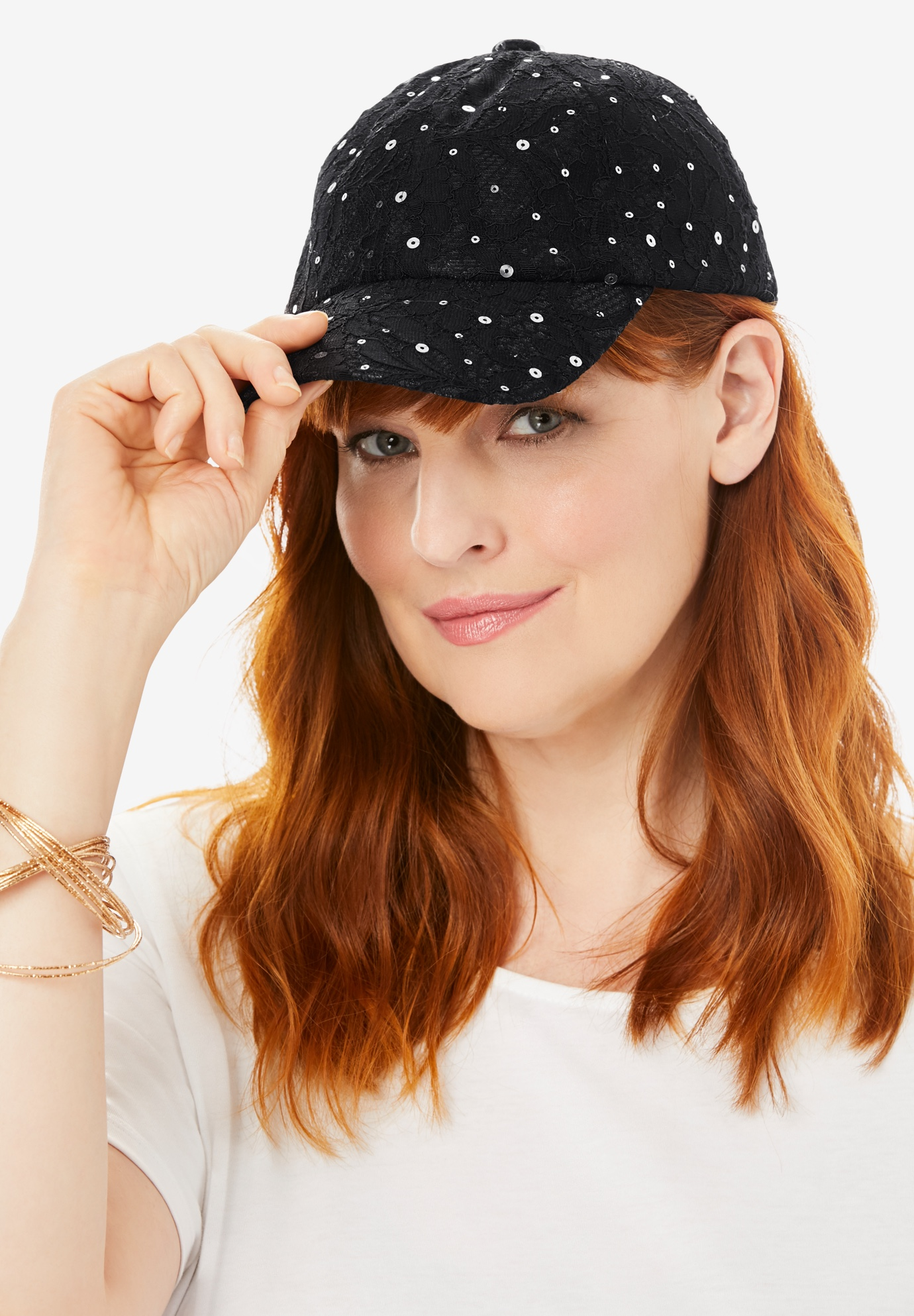 Sequin Lace Baseball Cap, BLACK