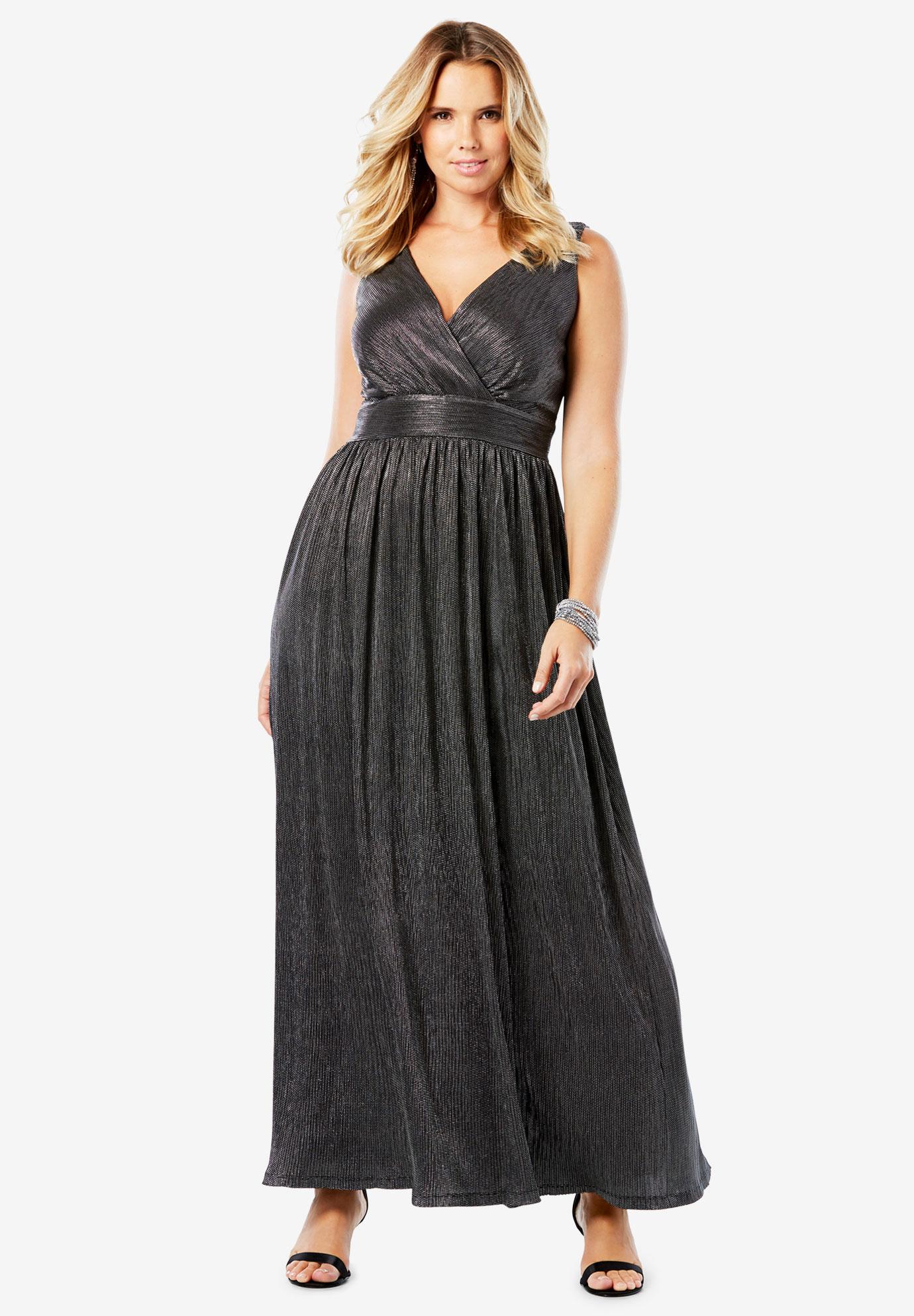 Textured Metallic Dress with Surplice Neck