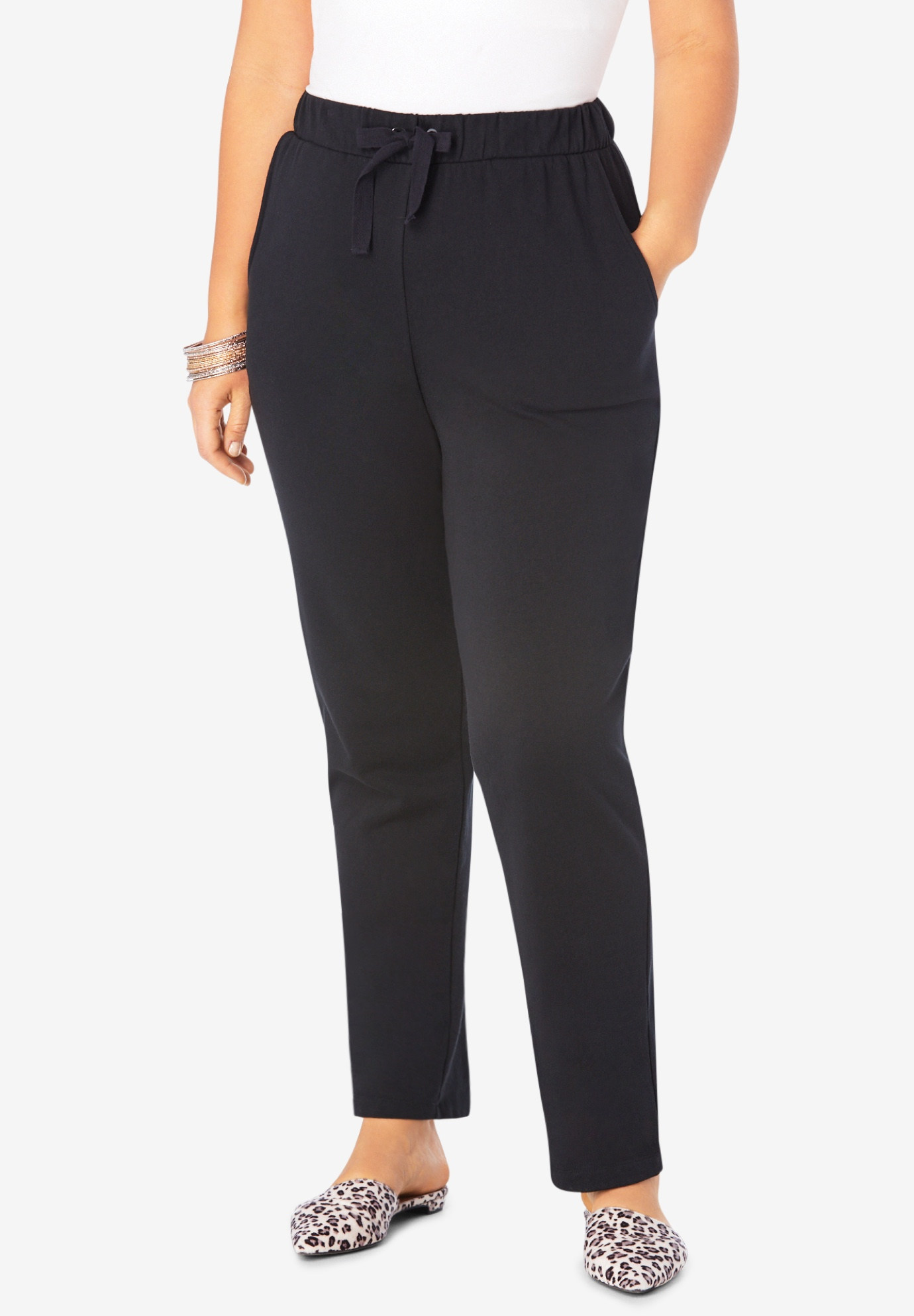 Straight Leg French Terry Pant with Drawstring,