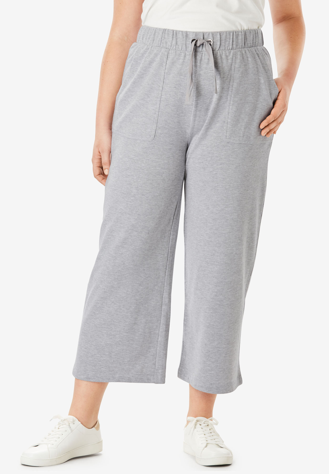 Wide-Leg Crop French Terry Pant with Drawstring Waist,