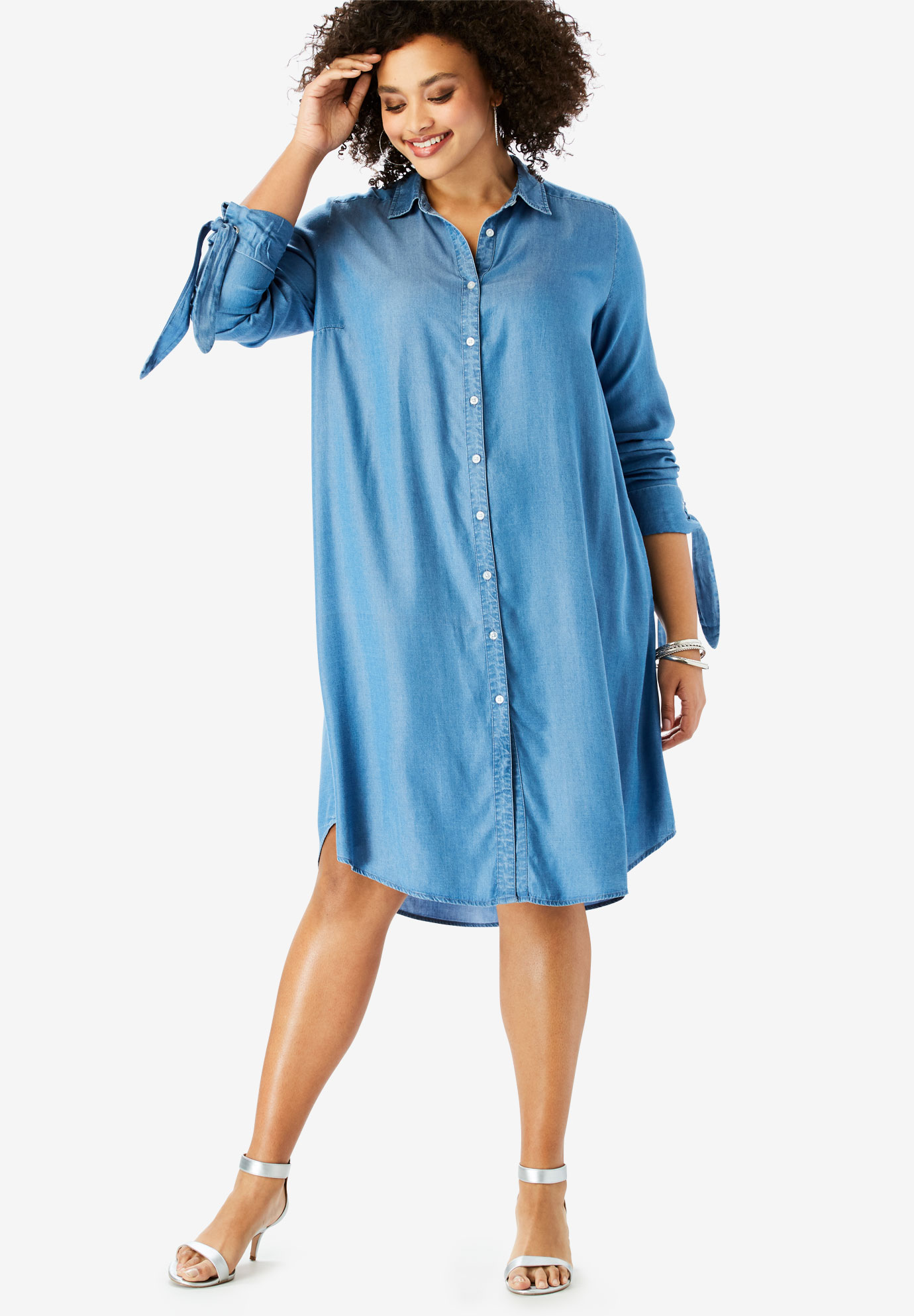 Tencel® Tie-Sleeve Kate Shirtdress,