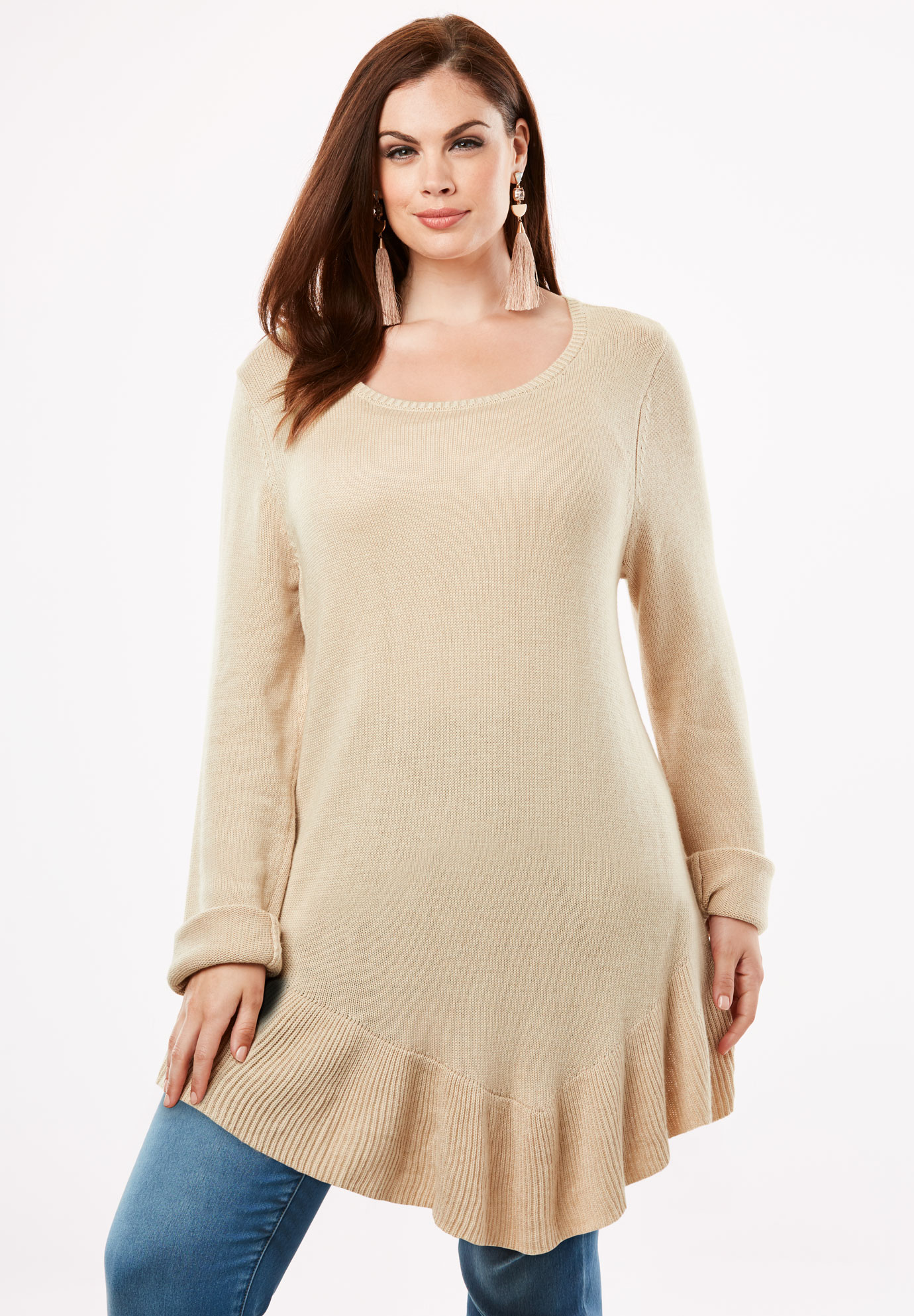 Pullover Sweater with Asymmetric Hem,