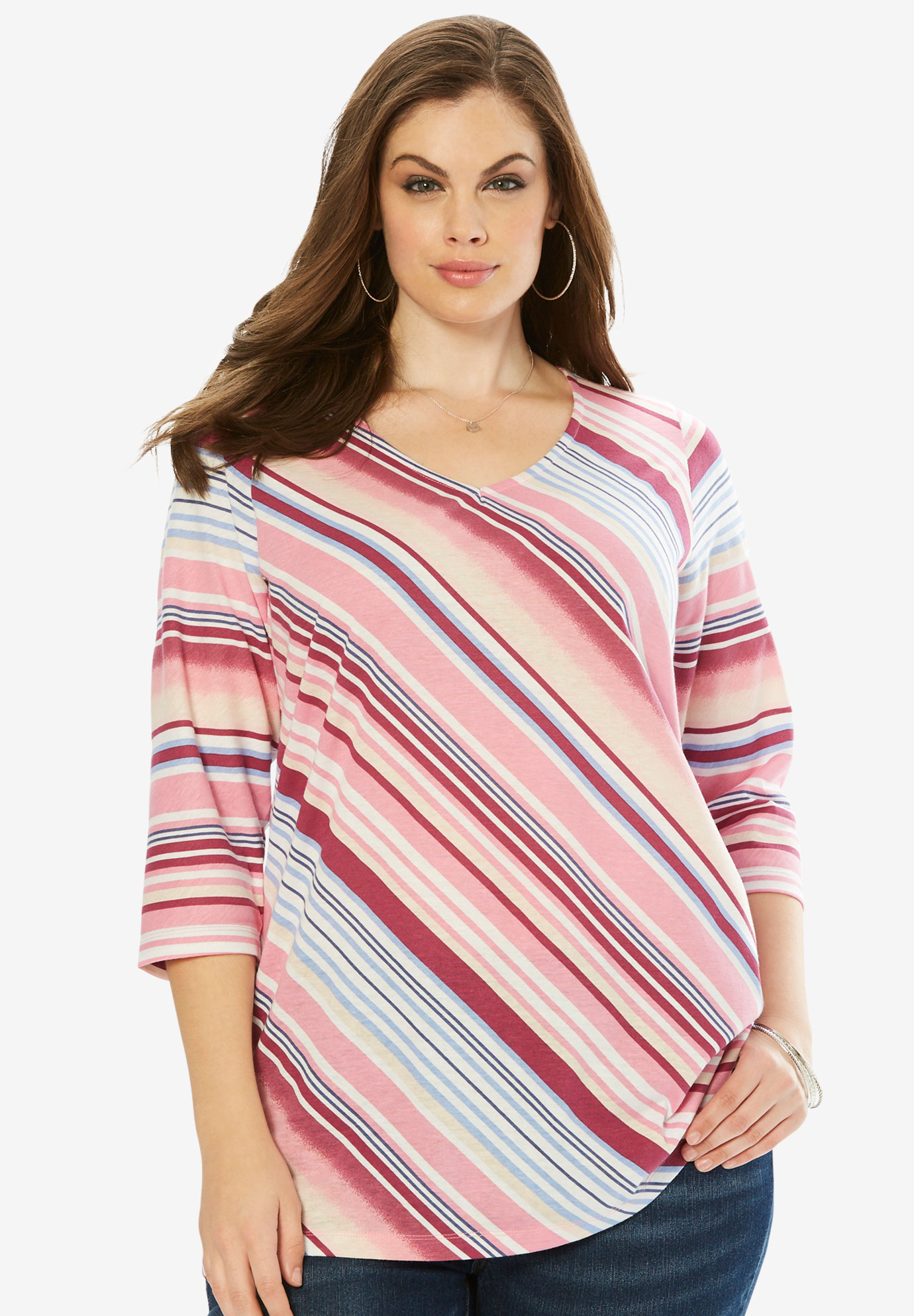 Diagonal Stripe V-Neck Tee,