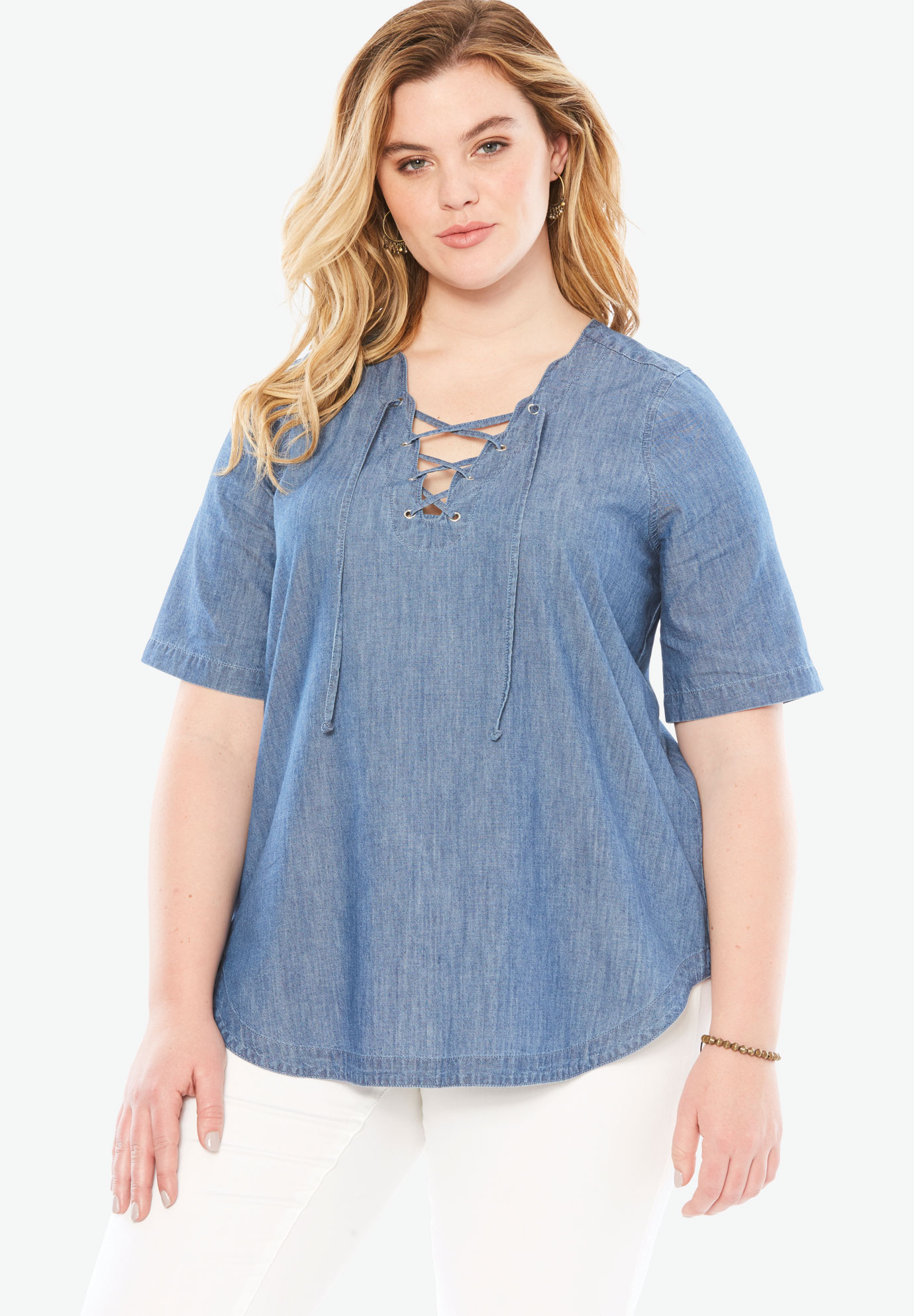 199086b14b3 Lace Up Denim Shirt by Denim 24/7| Plus Size Shirts & Blouses | Full ...