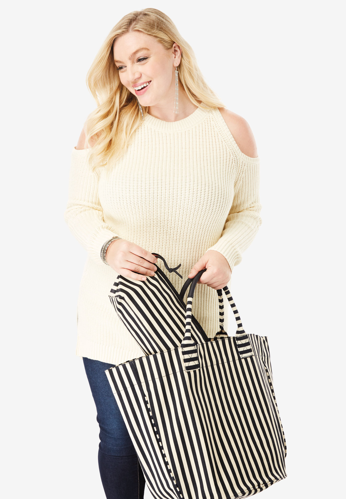 2-Piece Tote Set, BLACK STRIPE