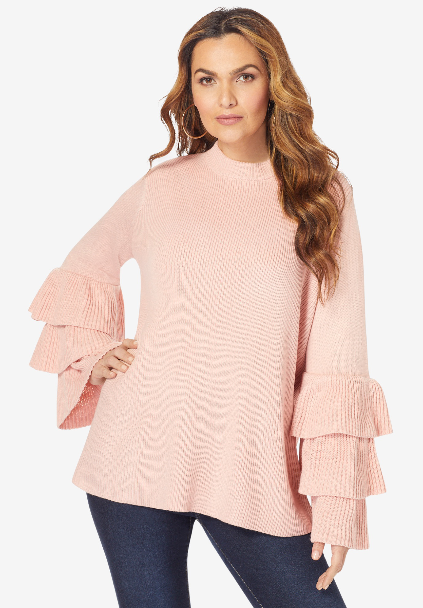 Tiered-Sleeve Sweater,