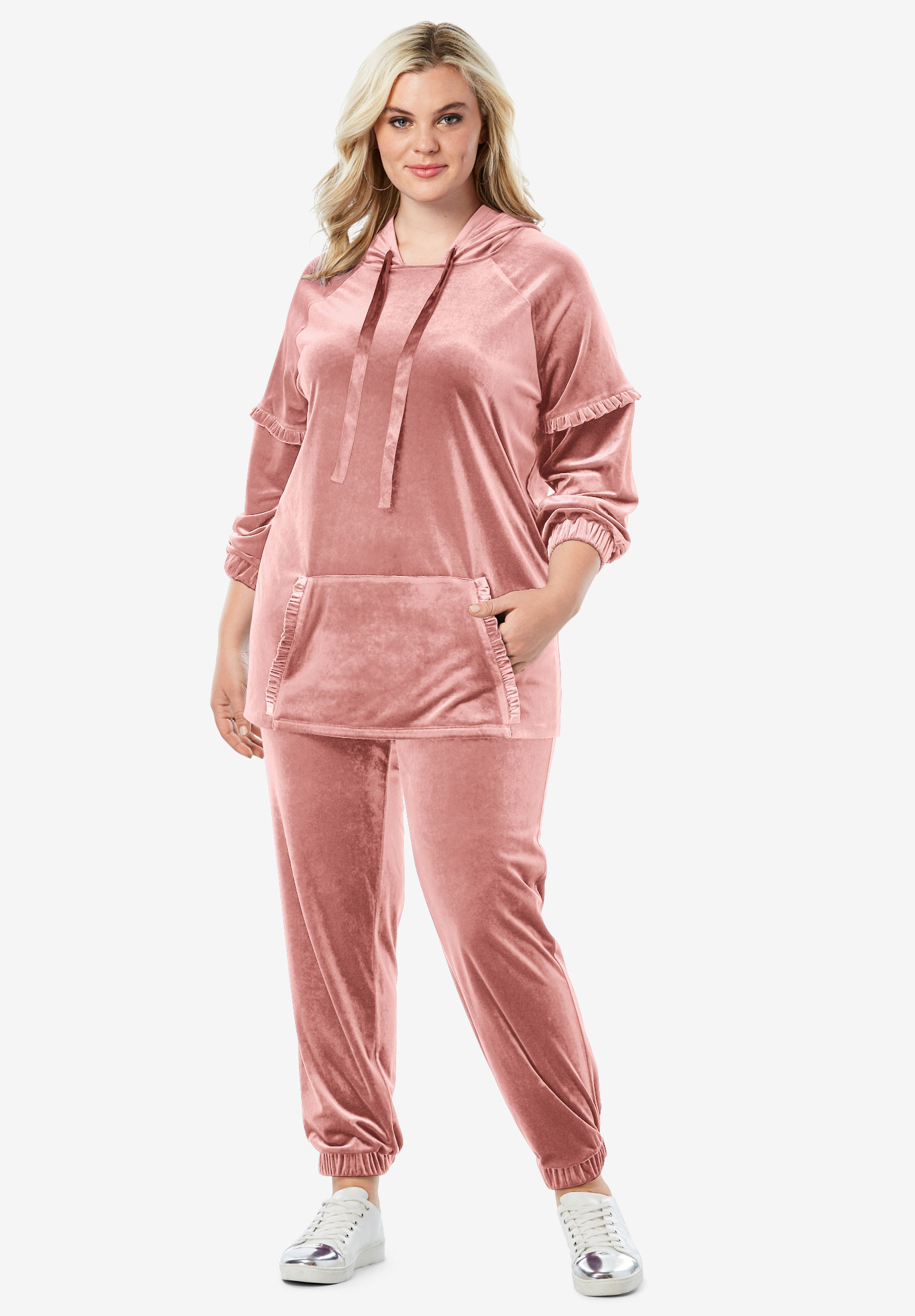 Ruffle Trim Velour Jogger Set,