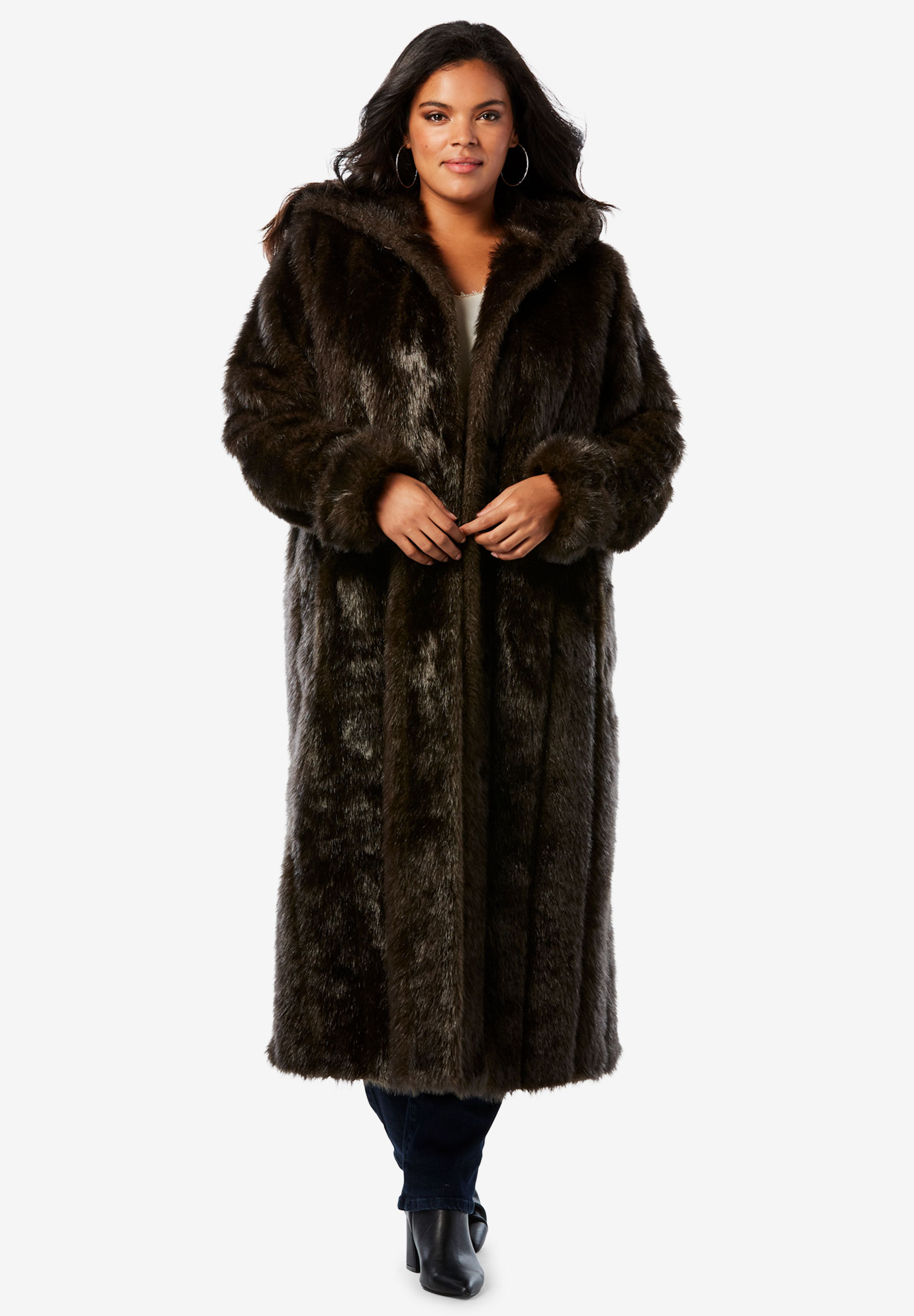779391e23bffe Full Length Faux-Fur Coat with Hood