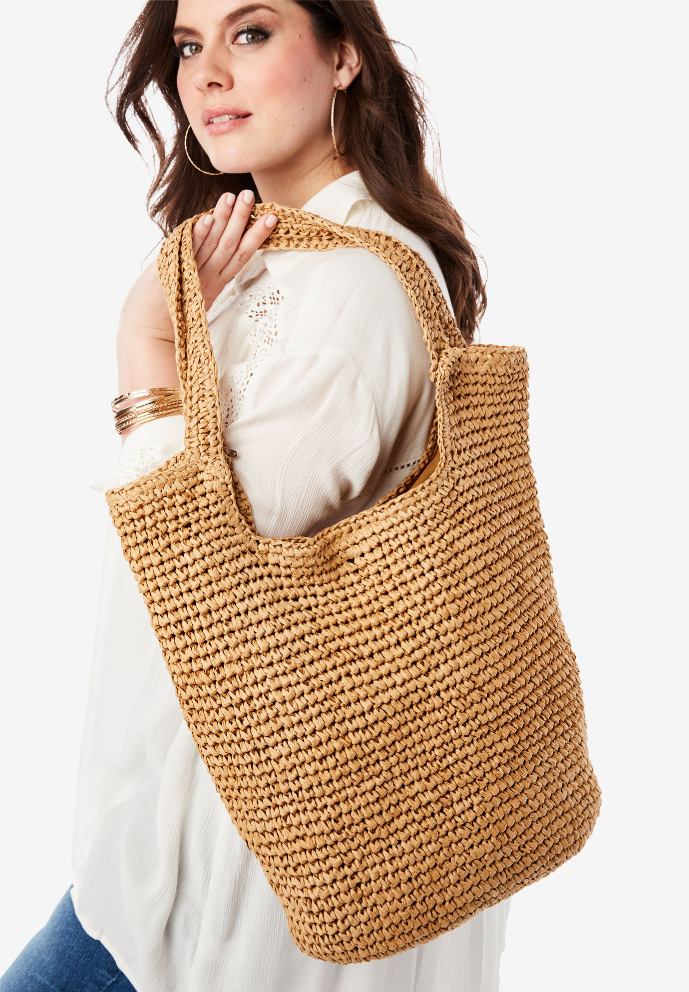 Summer Straw Tote Bag, NATURAL