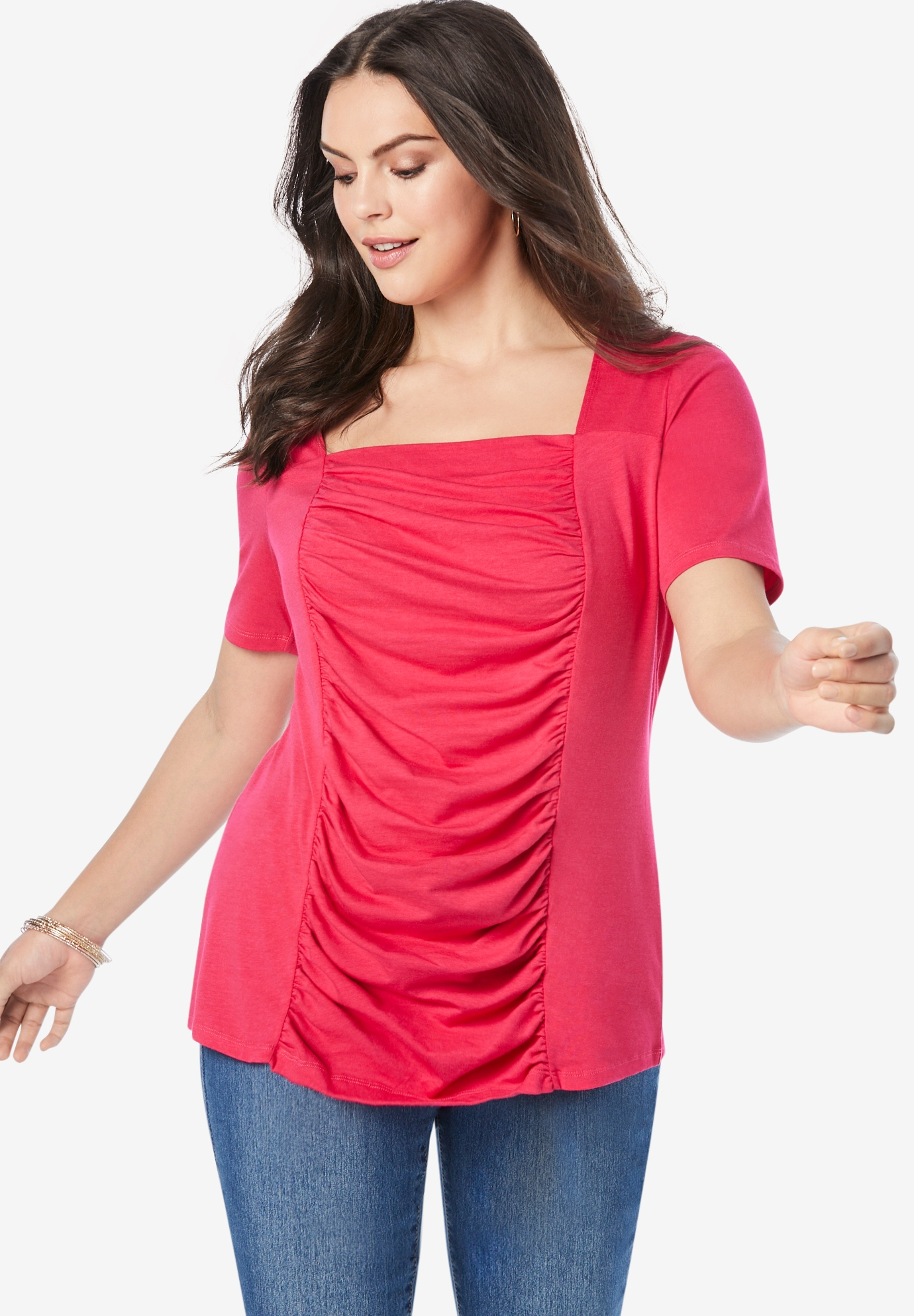 Shirred Square-Neck Runway Tee,