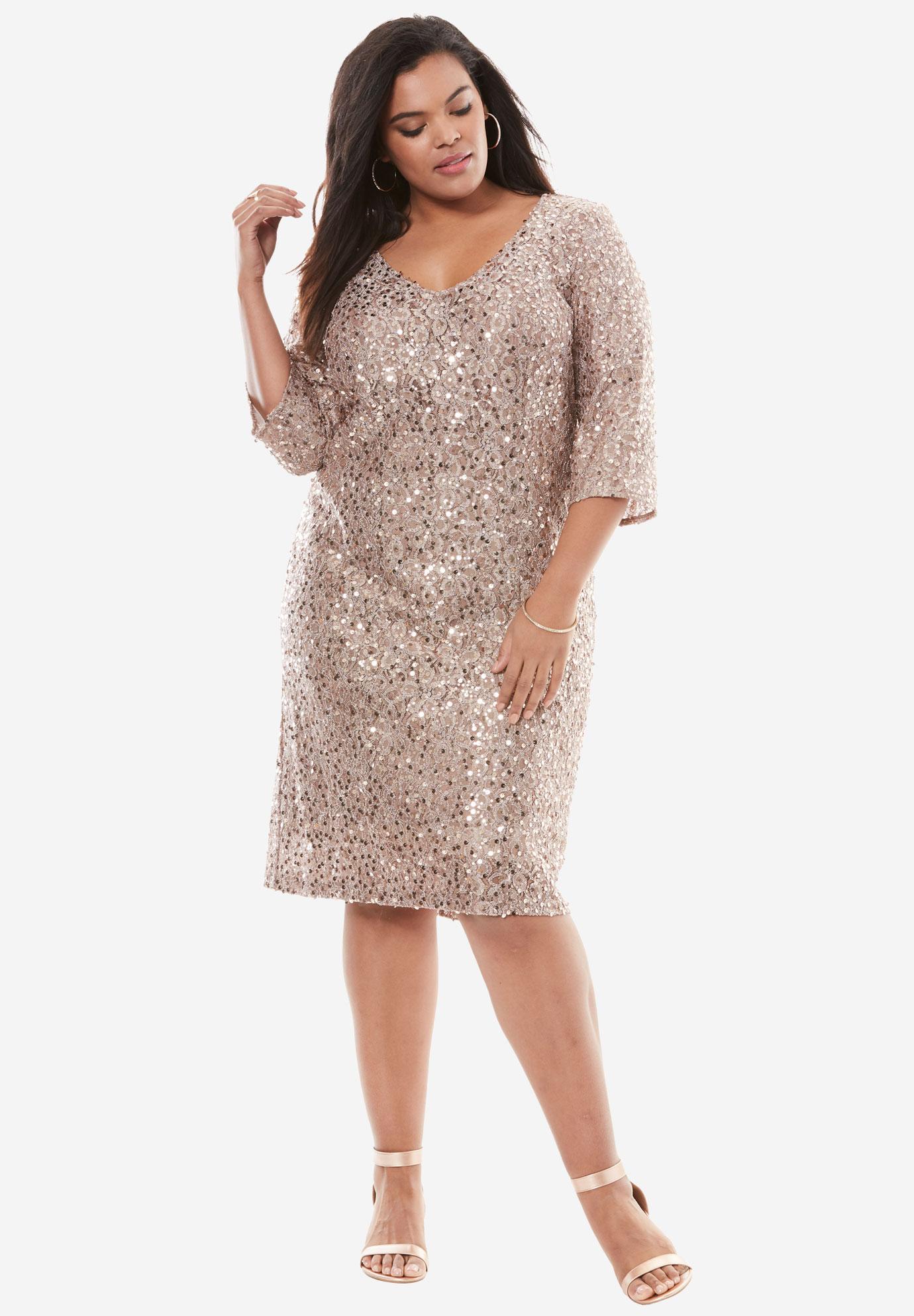 1f2d1cc1567 Sequin Shift Dress by Alex Evenings