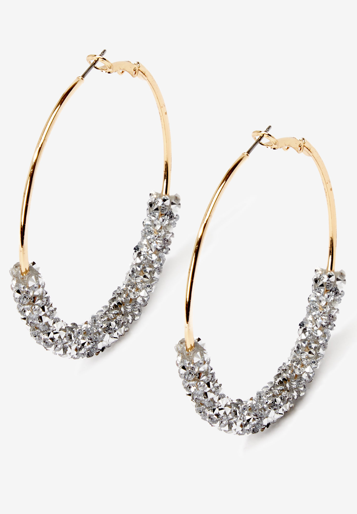 Glittery Hoop Earrings, GOLD