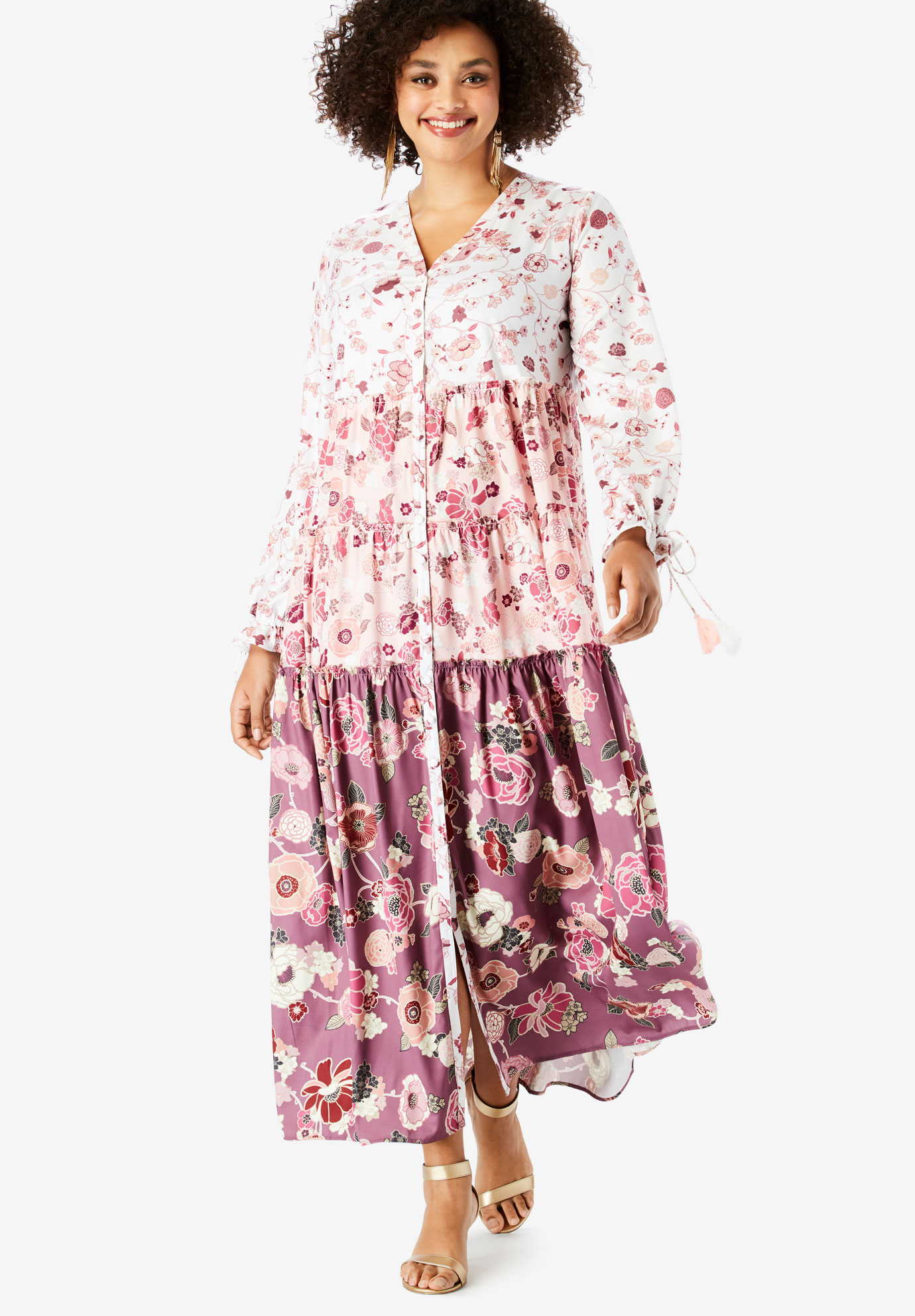 Drawstring-Sleeve Maxi Dress with Tiered Skirt,