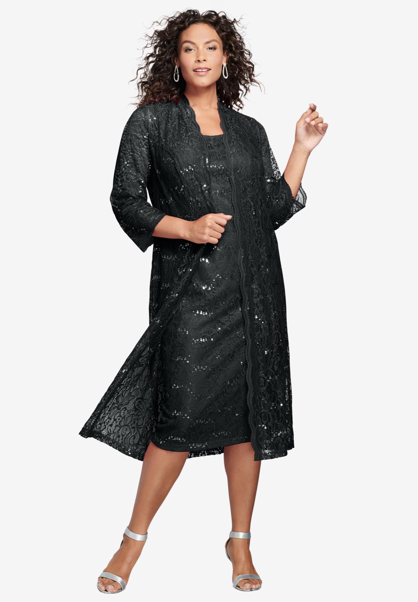Lace & Sequin Jacket Dress Set| Plus Size Special Occasion Dresses ...
