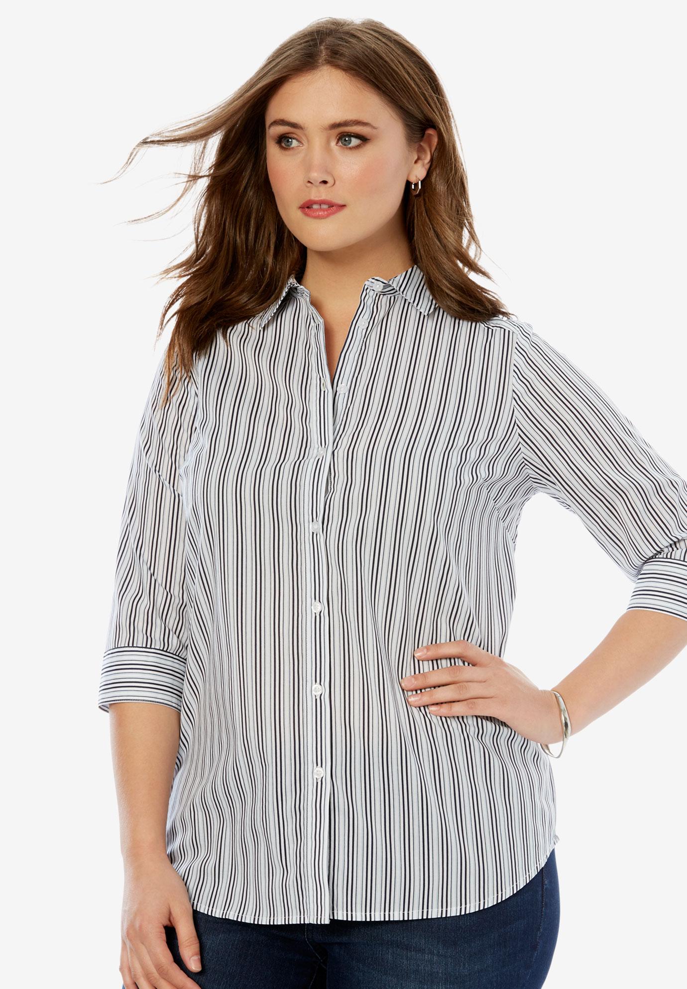 8184aad5b Three-Quarter Sleeve Kate Shirt| Plus Size Shirts & Blouses | Full ...